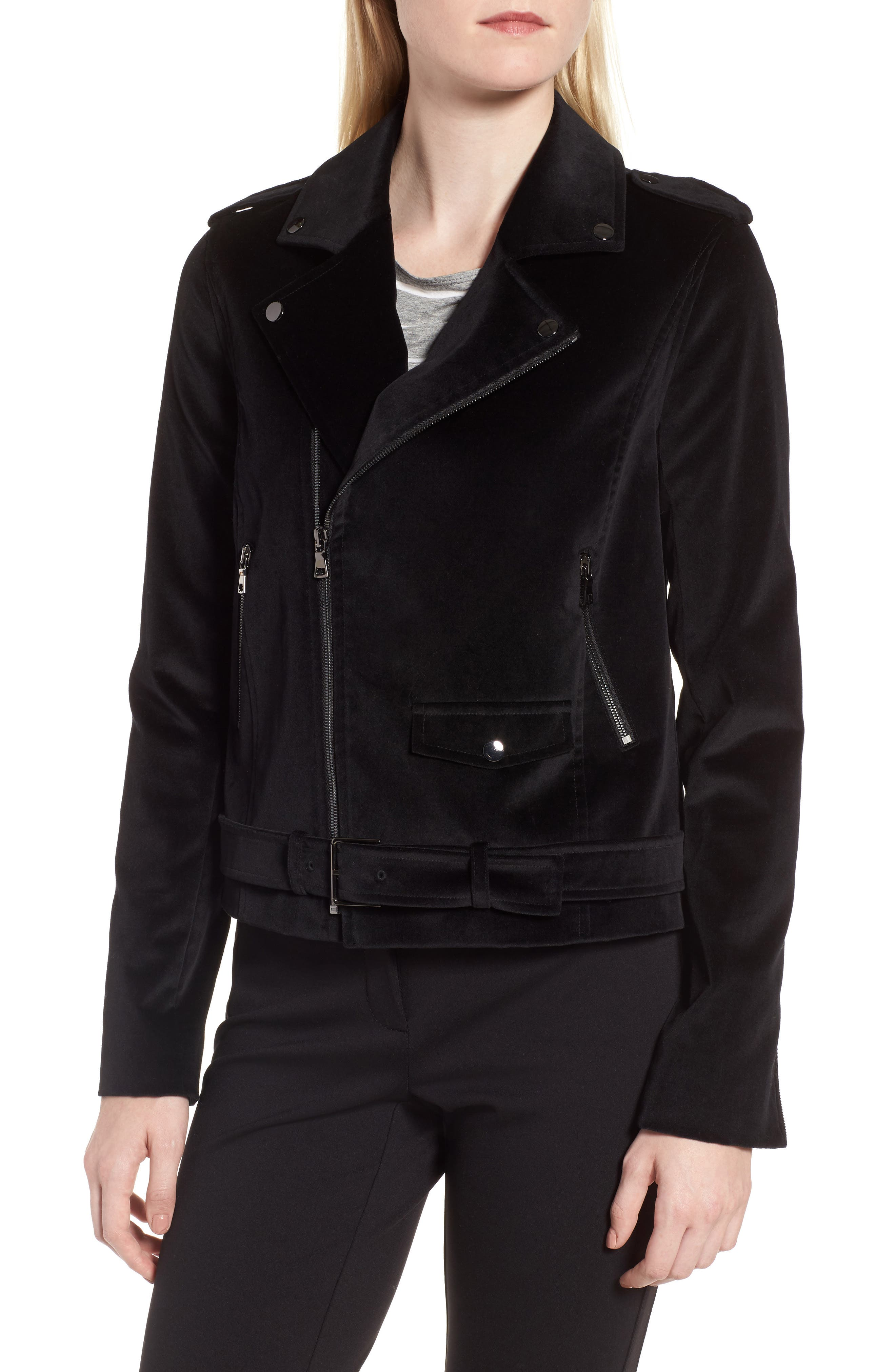 Velvet Moto Jacket,                             Alternate thumbnail 5, color,                             Black