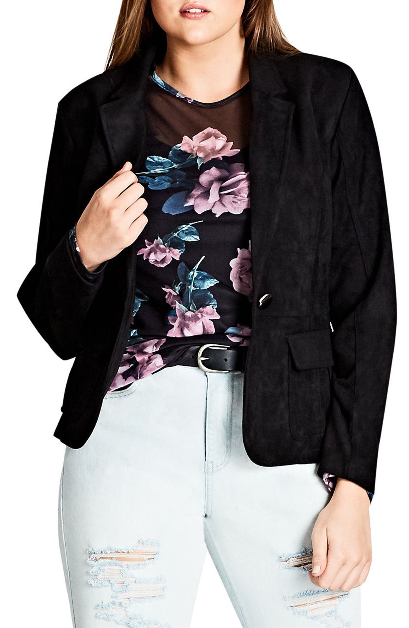 Alternate Image 1 Selected - City Chic Smooth Operator Faux Suede Jacket (Plus Size)