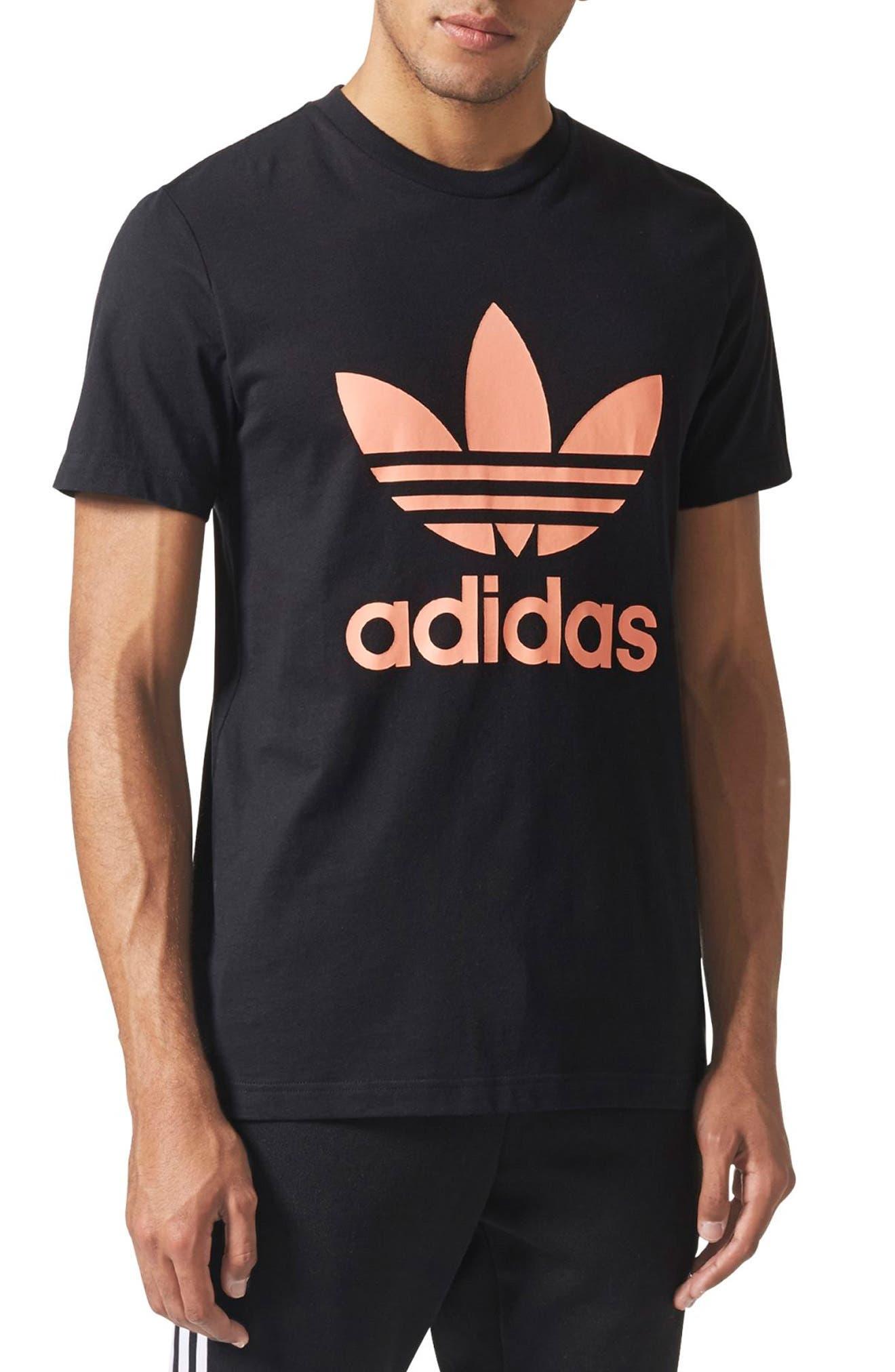 Pharrell Williams Hu Hiking T-Shirt,                             Main thumbnail 1, color,                             Black/ Chalk Coral