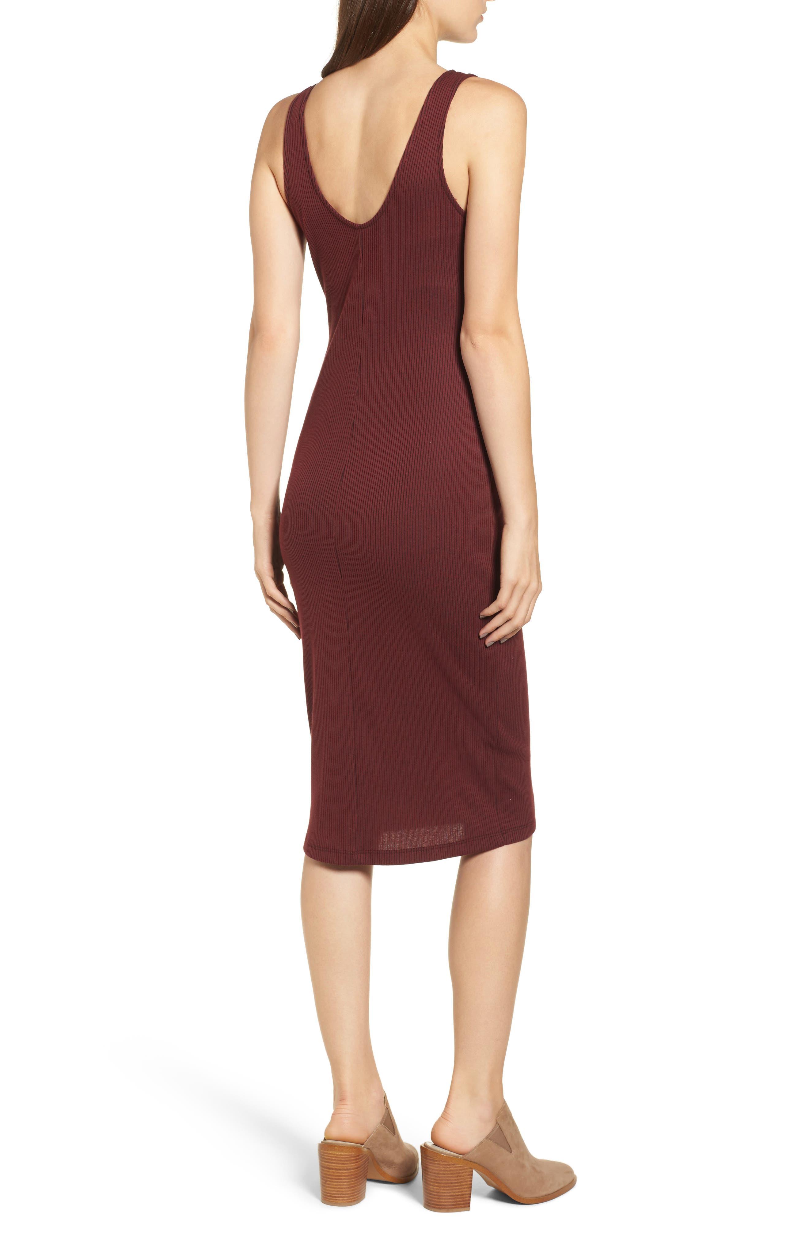 Ribbed Body-Con Midi Dress,                             Alternate thumbnail 2, color,                             Burgundy