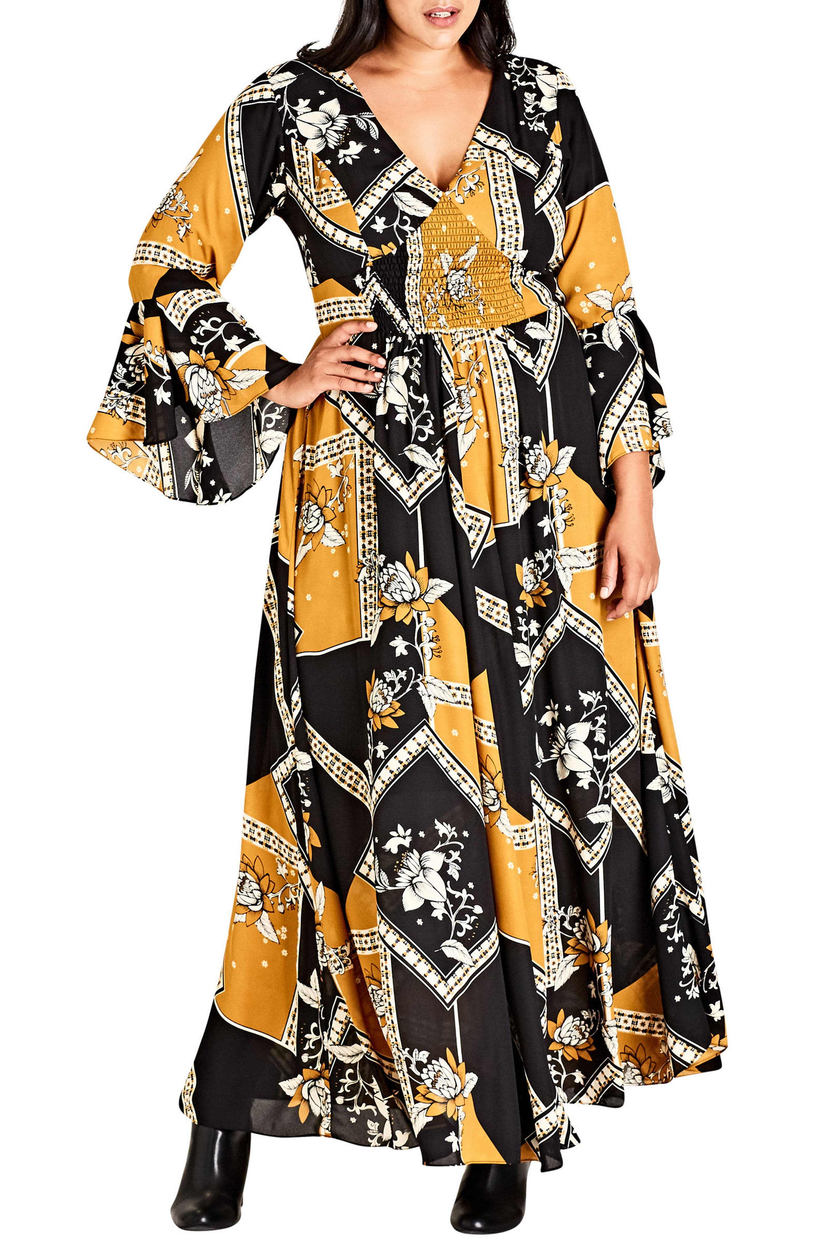 Scarf Print Maxi Dress,                         Main,                         color, Oriental Scarf