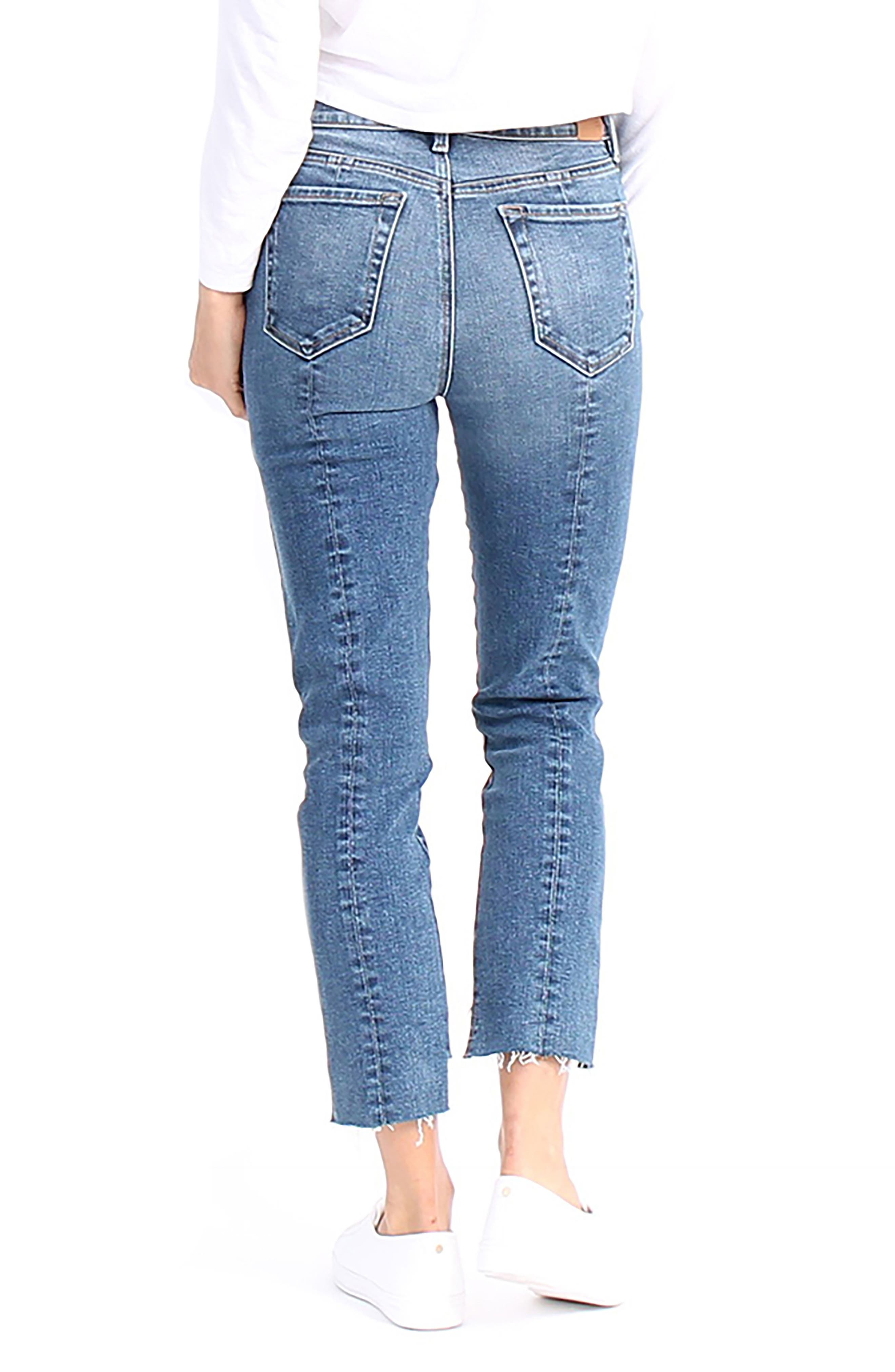 Skylar High-Waist Step Hem Distressed Jeans,                             Alternate thumbnail 2, color,                             Allure