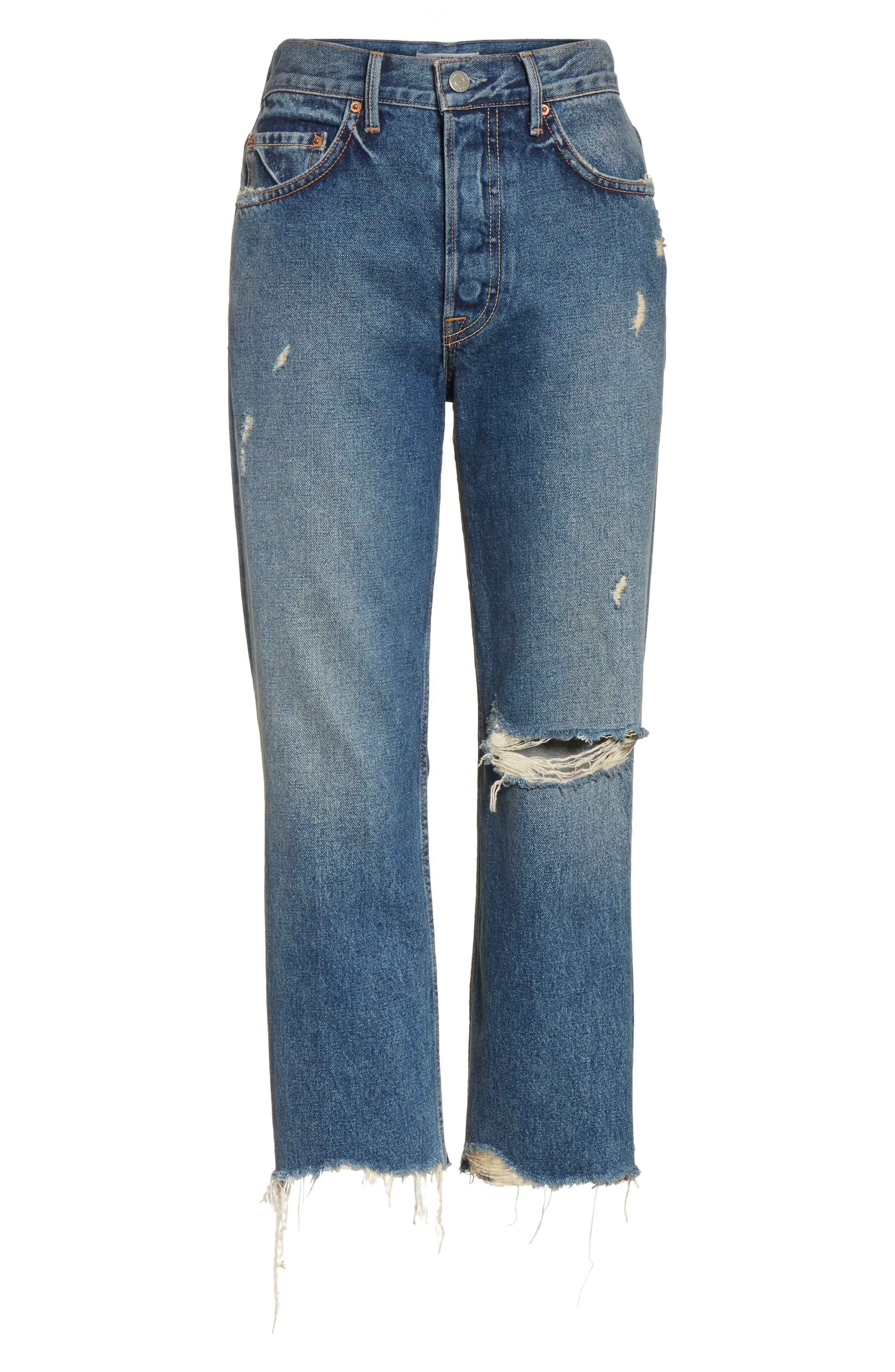 Linda Ripped Rigid High Waist Pop Crop Jeans,                             Alternate thumbnail 6, color,                             Zodiac