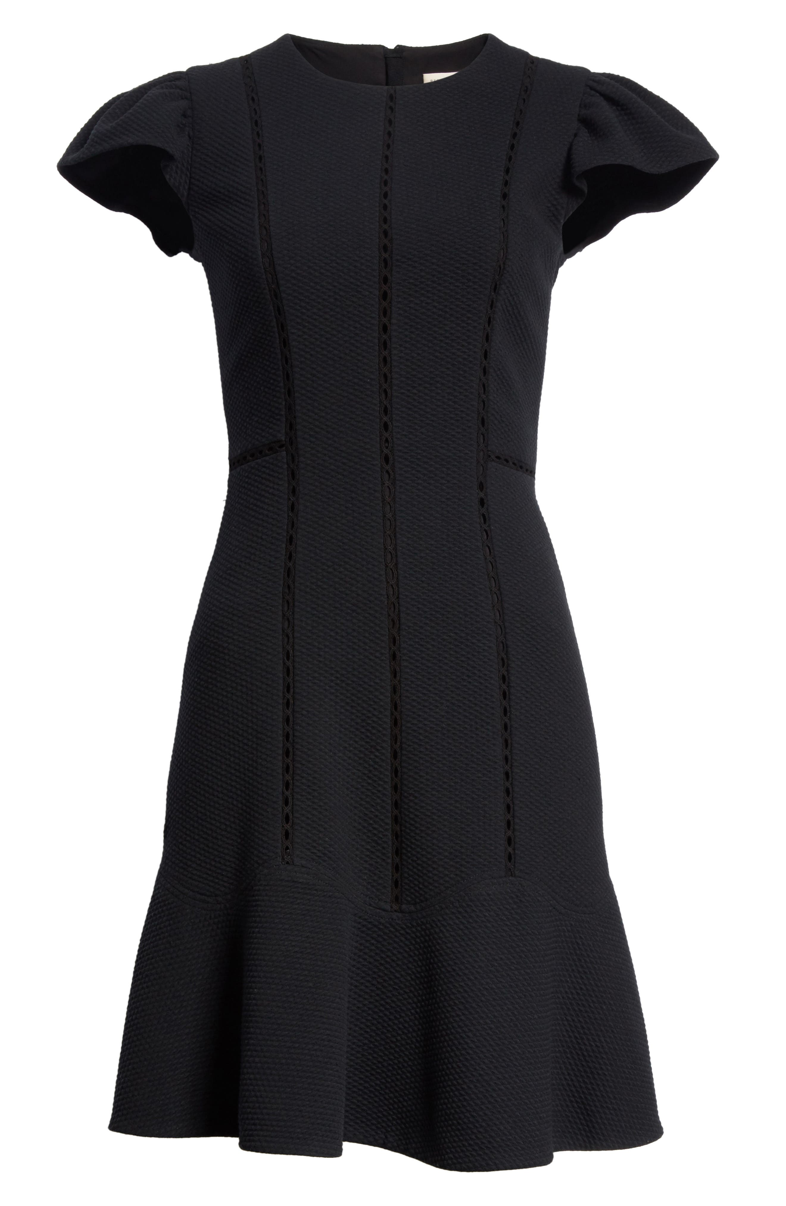 Alternate Image 6  - Rebecca Taylor Textured Stretch Fit & Flare Dress