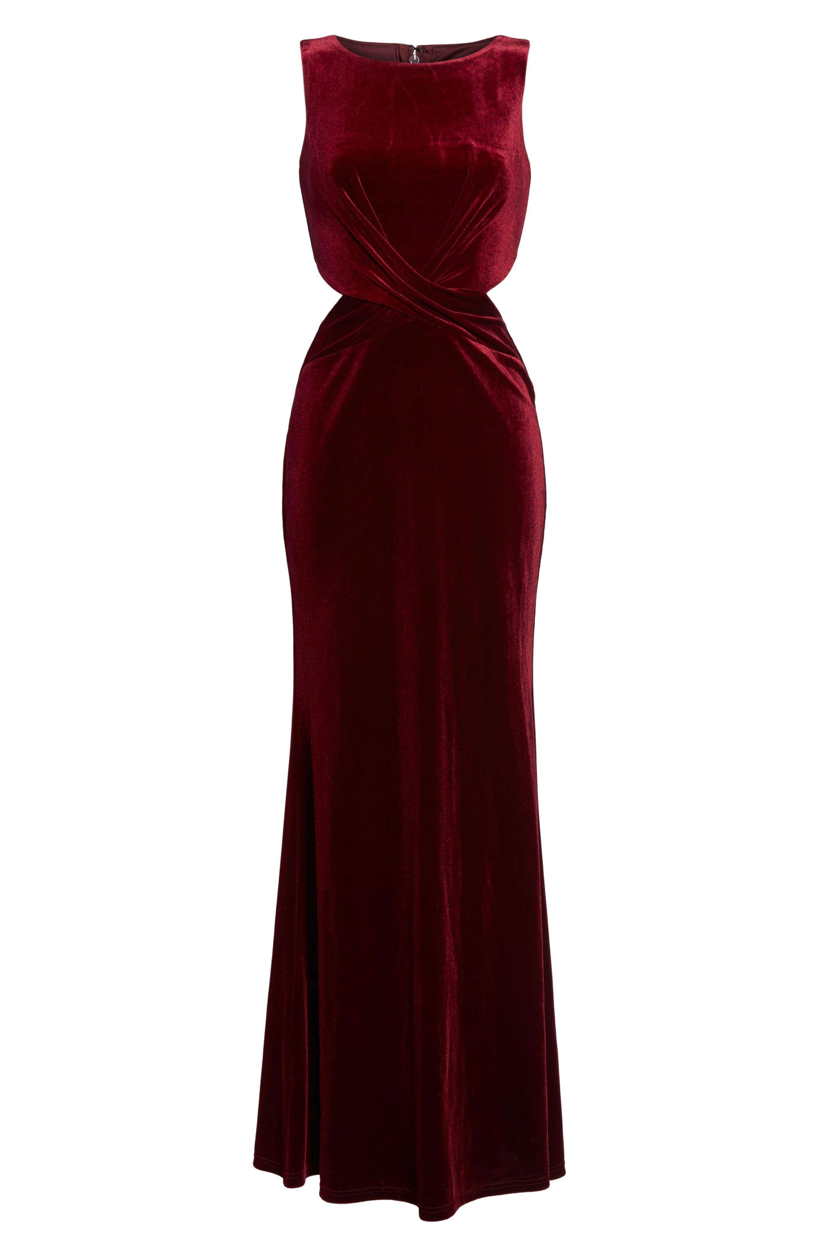 Reach Out Velvet Maxi Dress,                             Alternate thumbnail 6, color,                             Burgundy