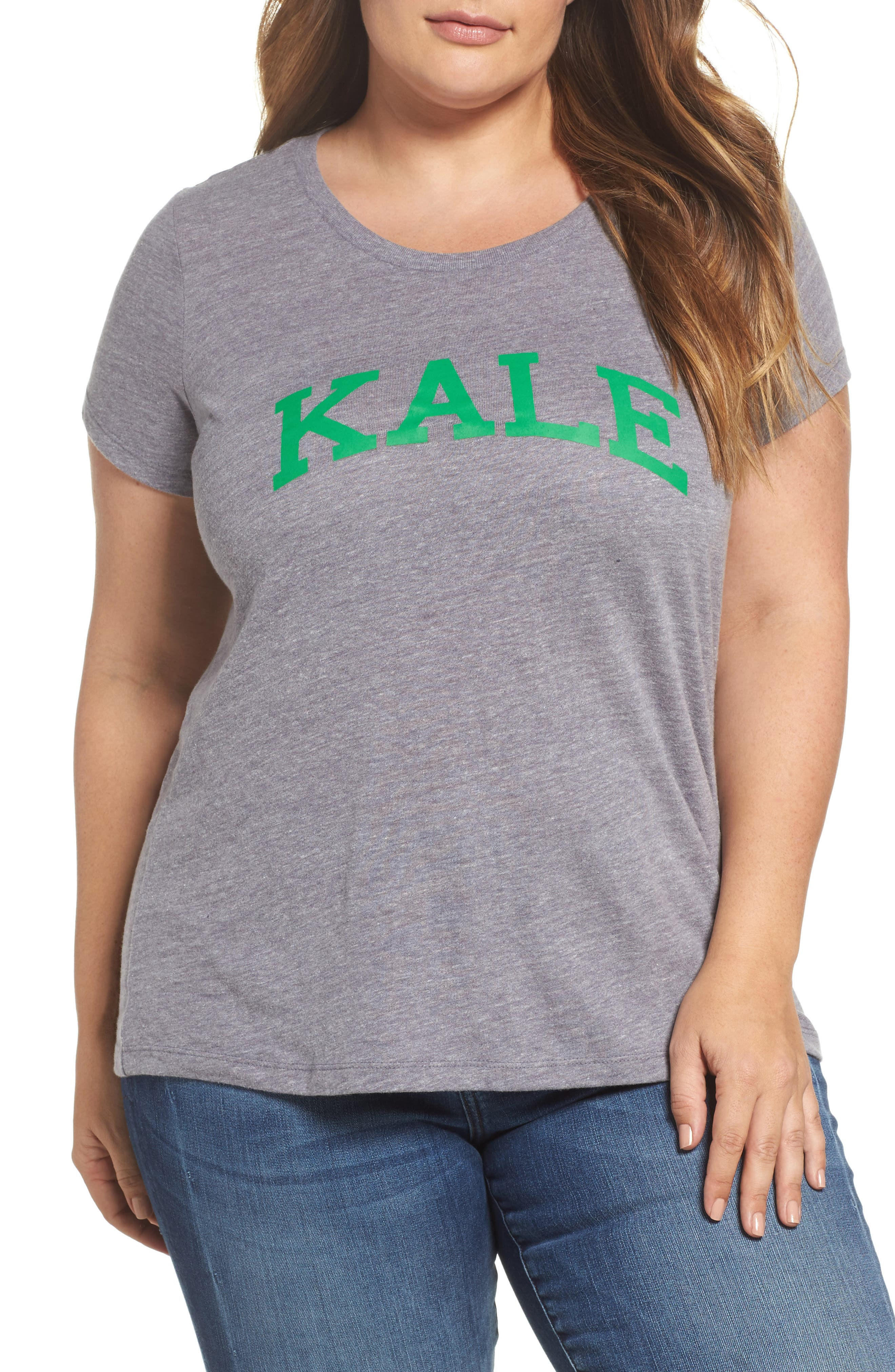 Kale Graphic Tee,                         Main,                         color, Heather Grey
