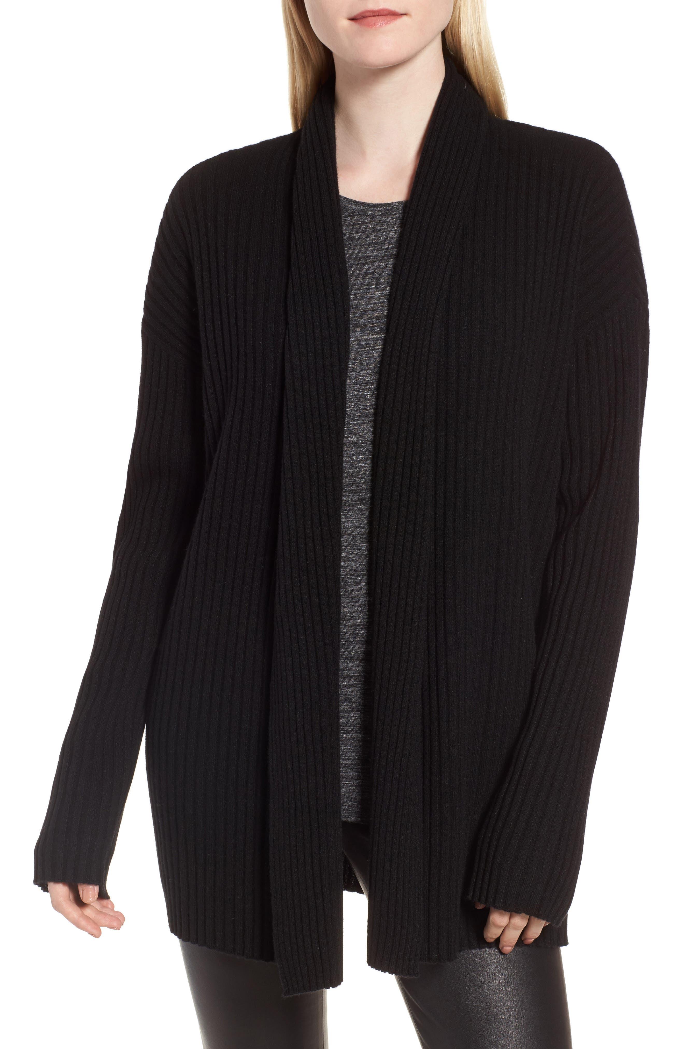 Rib Knit Cashmere Cardigan,                             Main thumbnail 1, color,                             Black