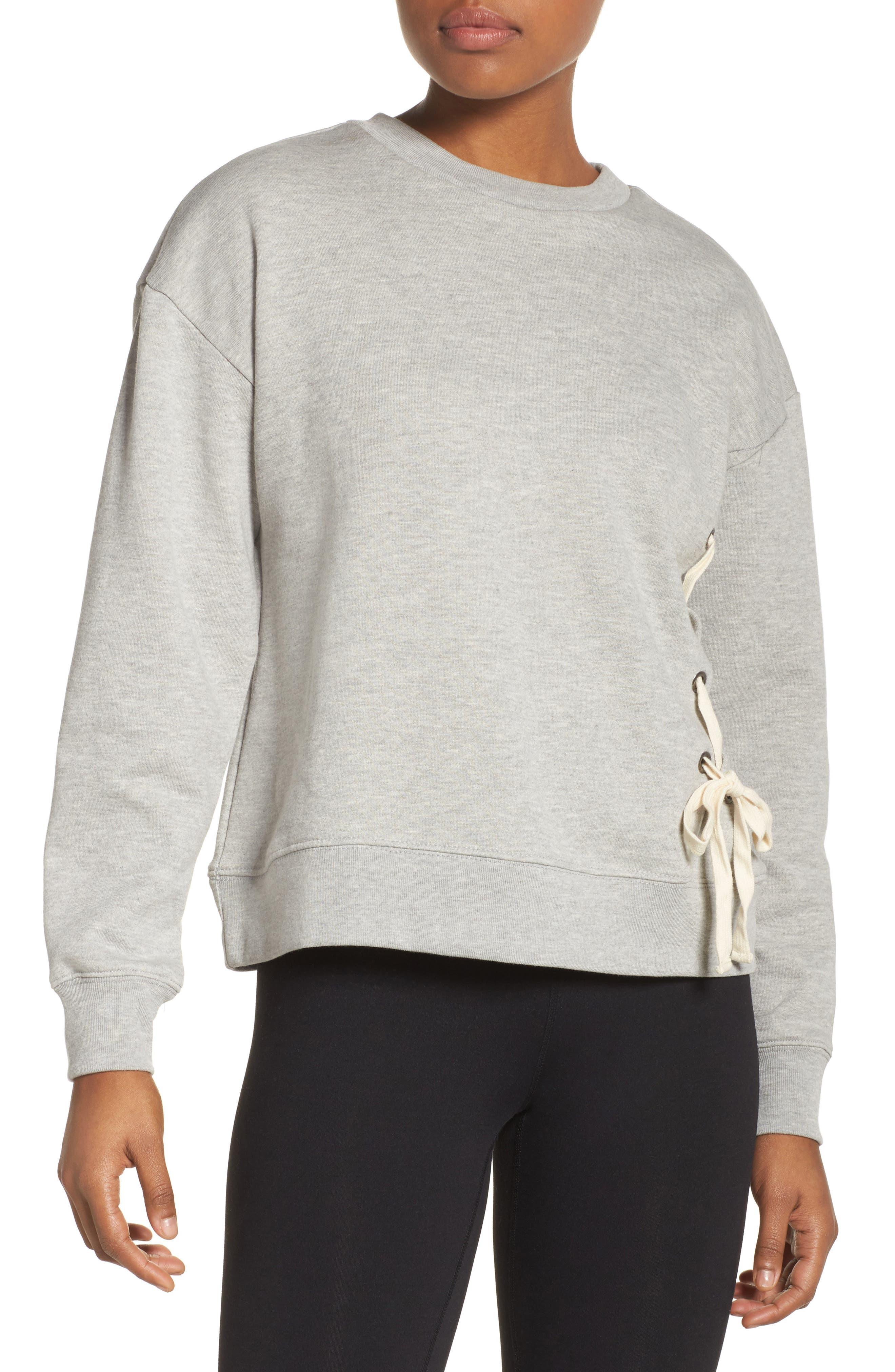 Lace-Up Crewneck Sweatshirt,                         Main,                         color, Grey Heather