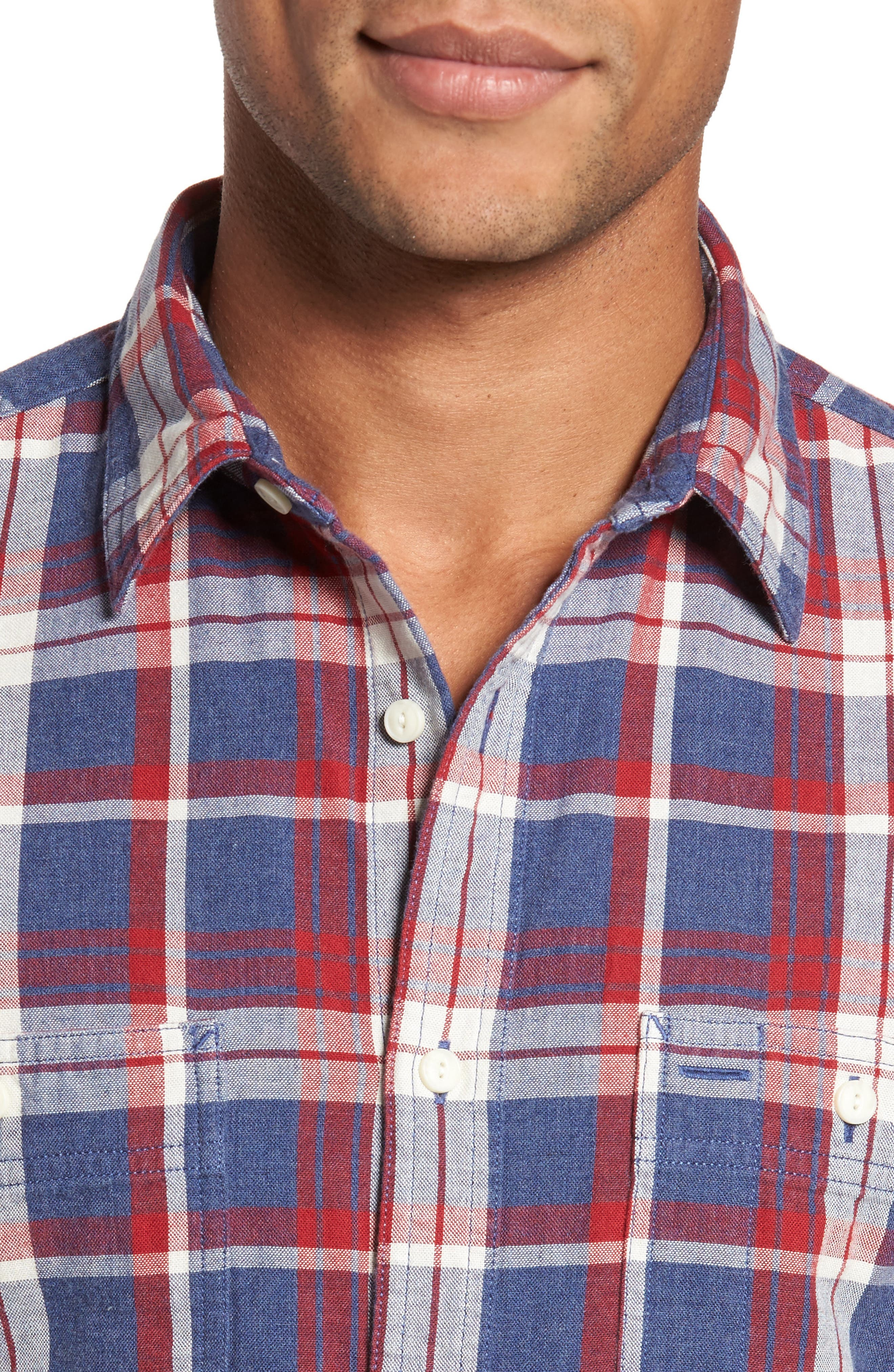 Trim Fit Workwear Duofold Plaid Sport Shirt,                             Alternate thumbnail 4, color,                             Blue Ensign Red Plaid Duofold
