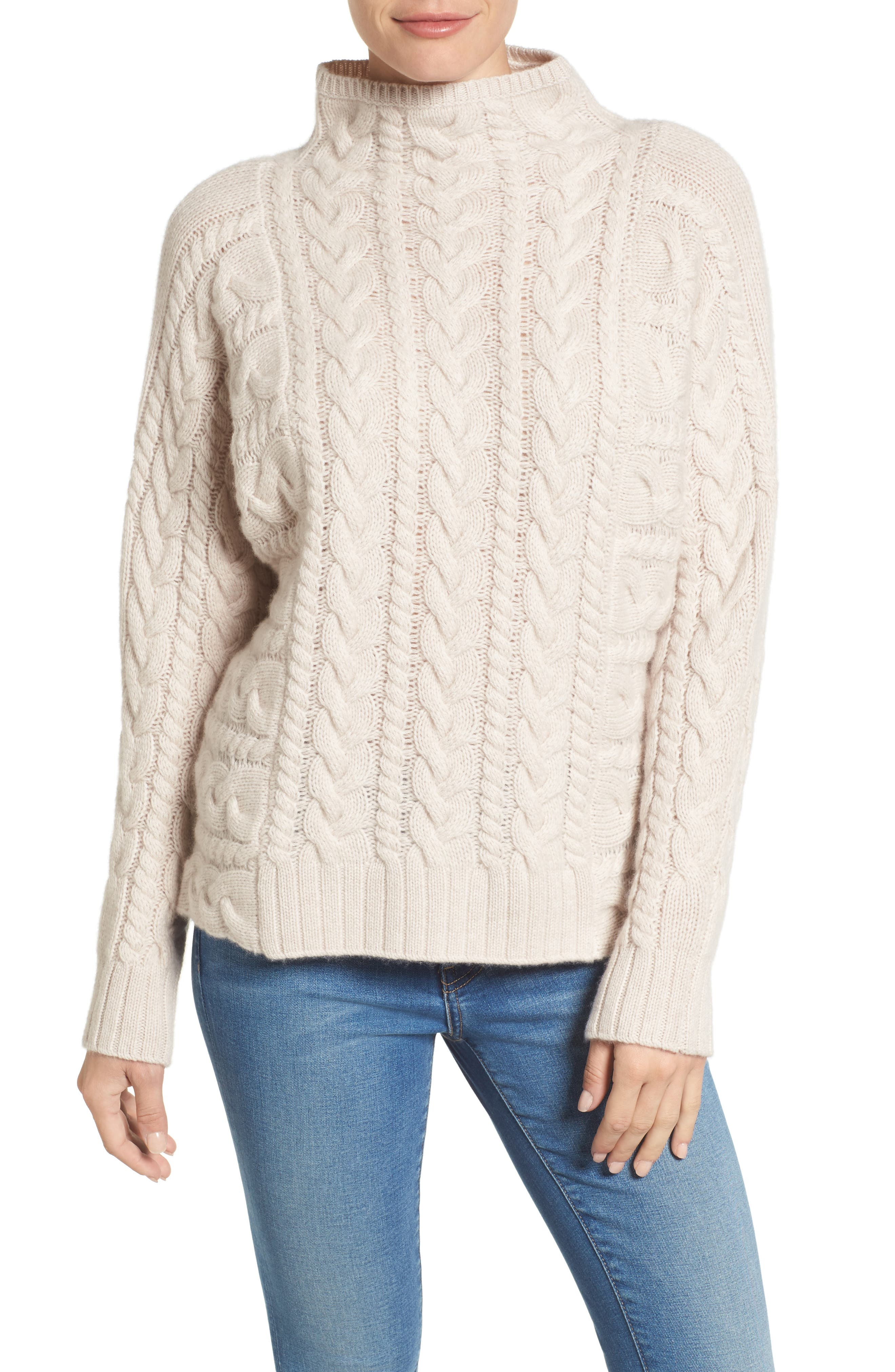 Cashmere Cable Sweater,                             Main thumbnail 1, color,                             Beige Pumice Heather