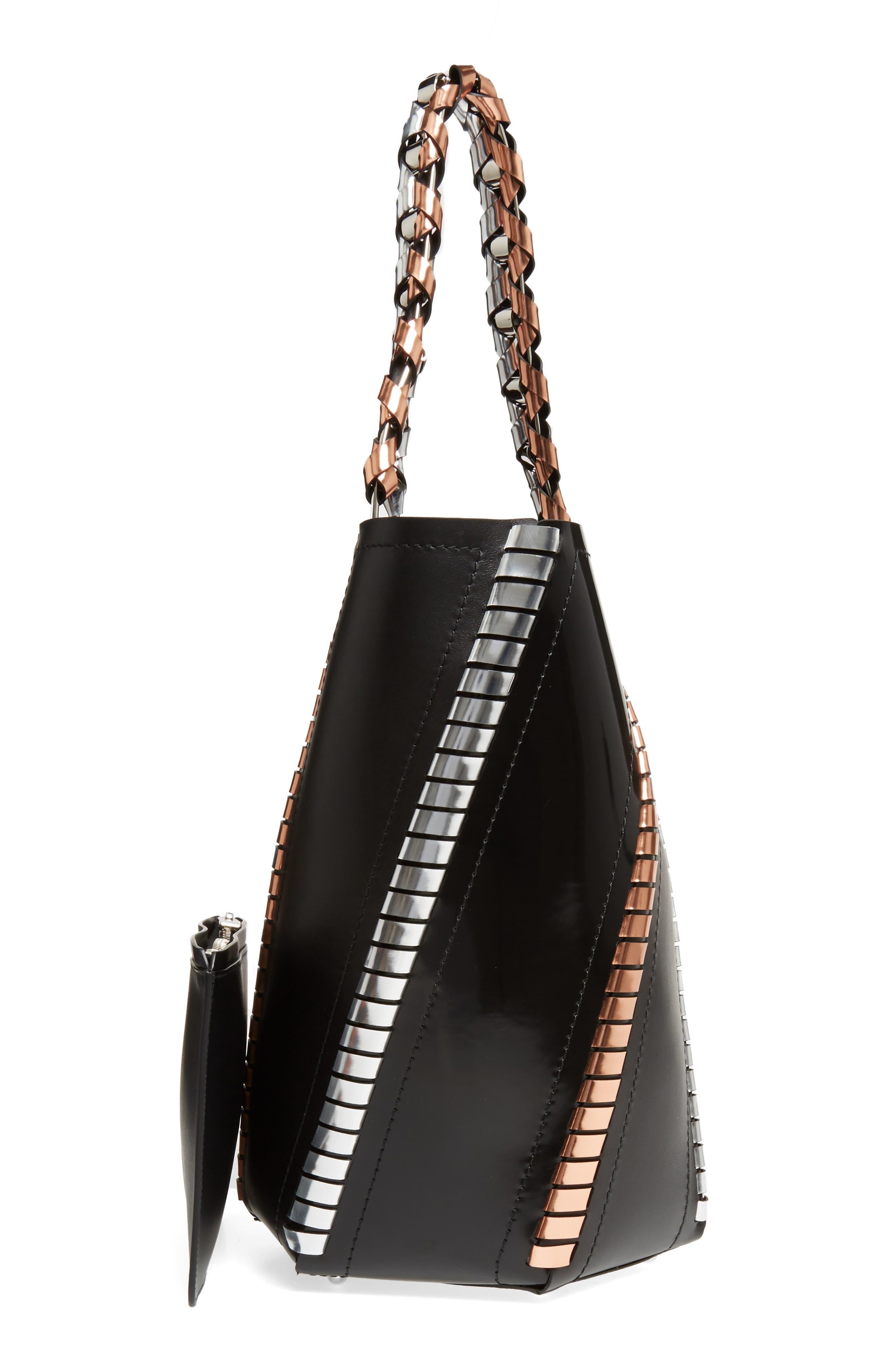 Medium Hex Metallic Whipstitch Leather Bucket Bag,                             Alternate thumbnail 3, color,                             Black Mix