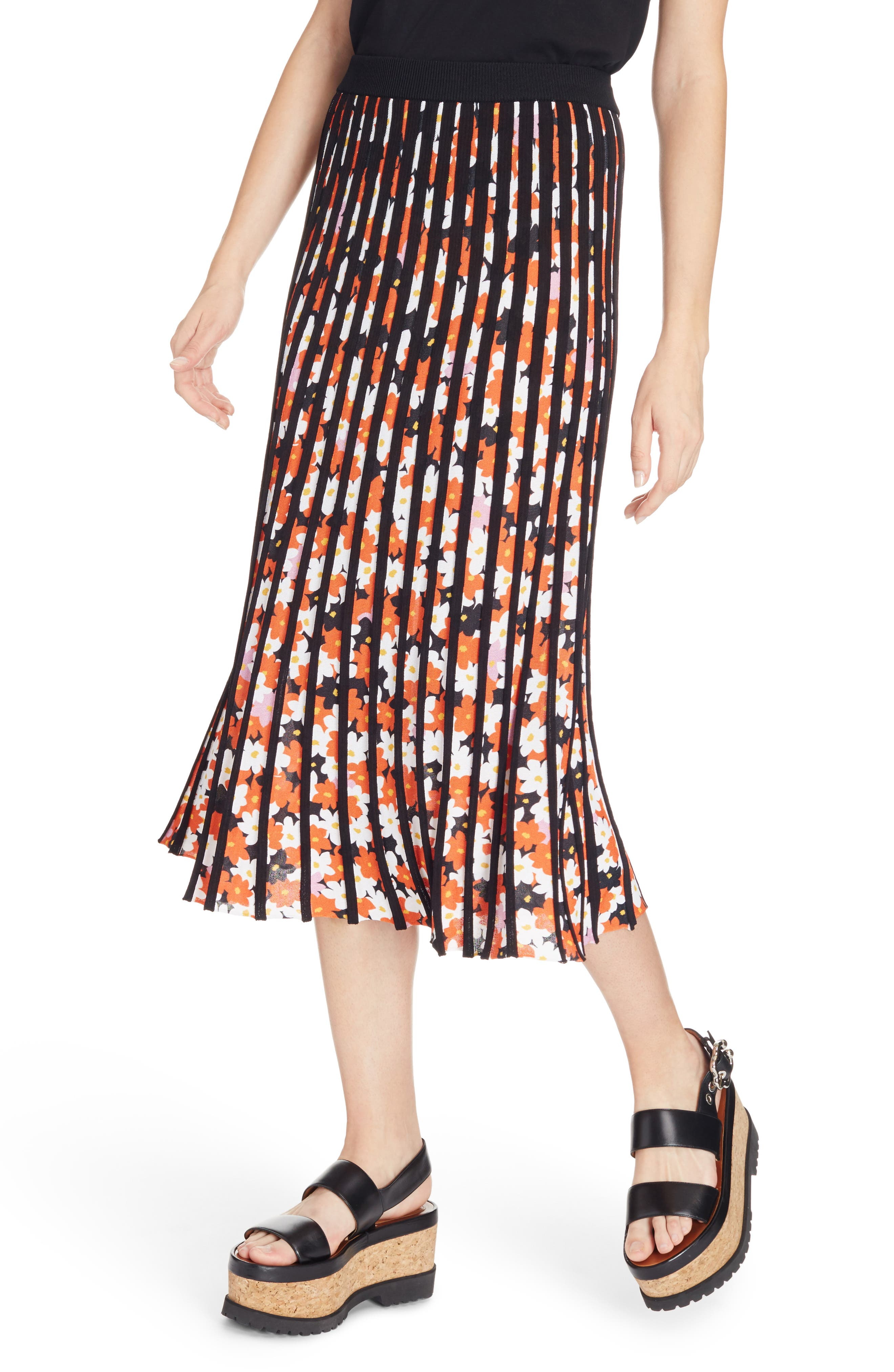 Knit Pleated Midi Skirt,                             Alternate thumbnail 3, color,                             Black