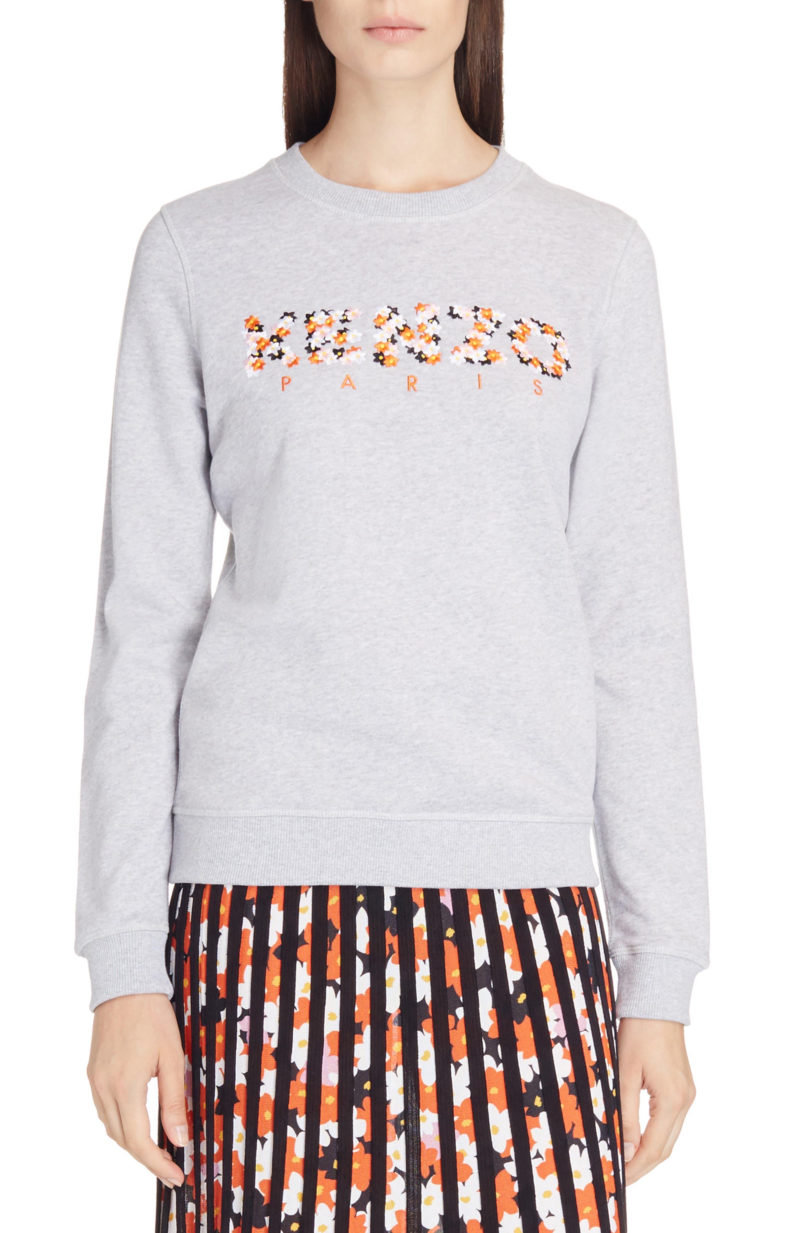 Classic Logo Embroidered Sweatshirt,                         Main,                         color, Grey