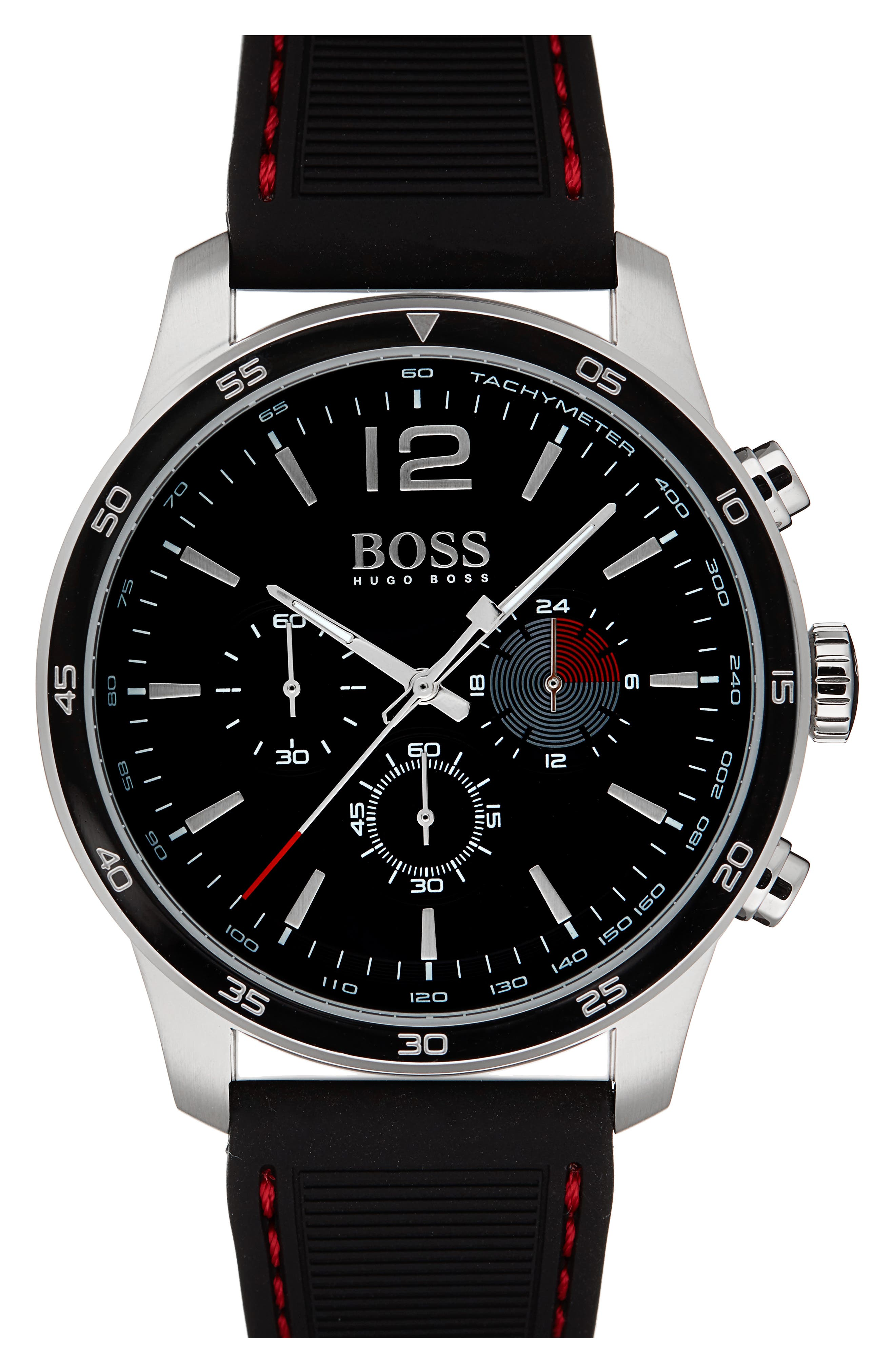 Professional Chronograph Leather Strap Watch, 42mm,                         Main,                         color, Black/ Black