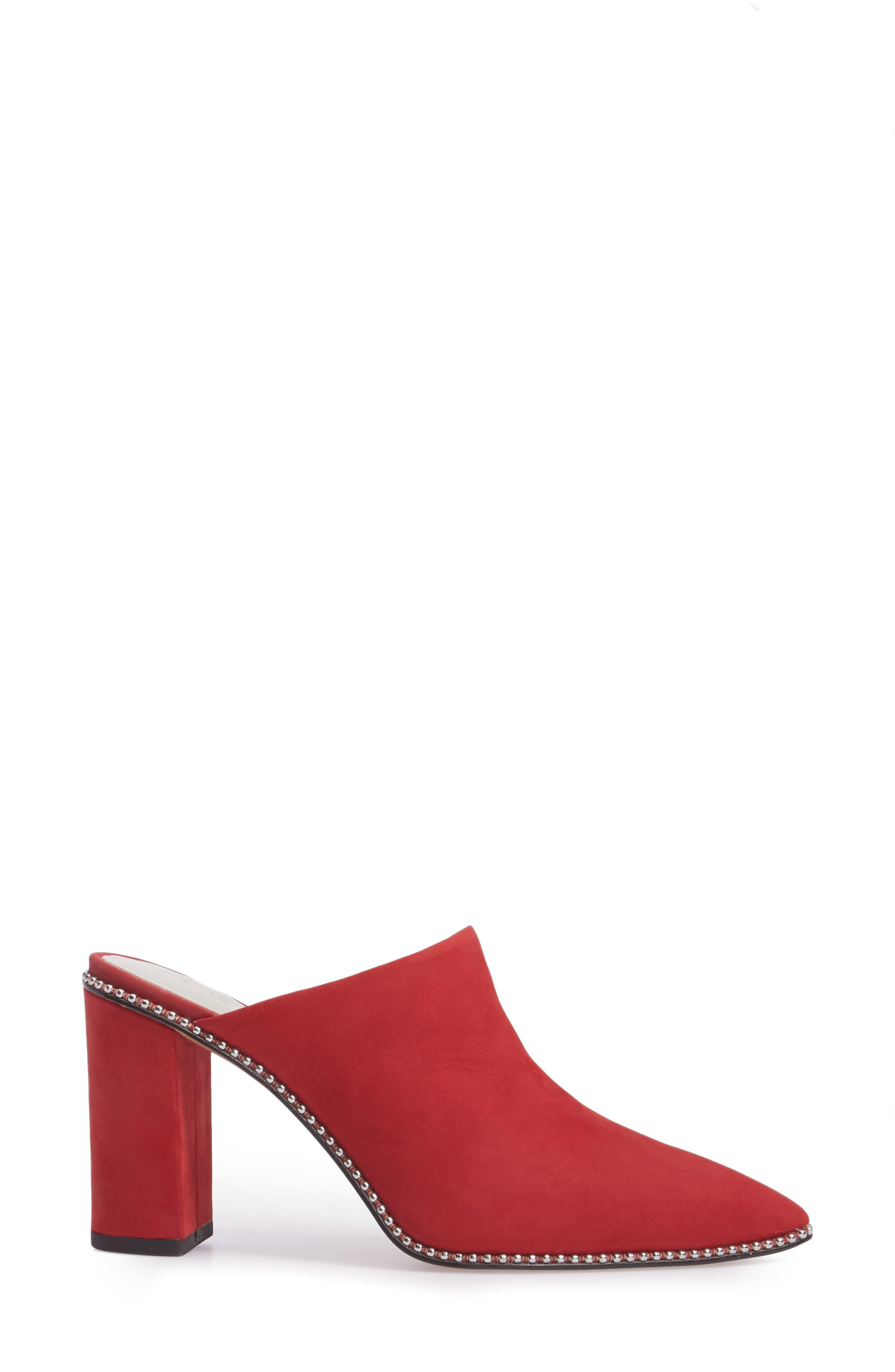 Relle Mule,                             Alternate thumbnail 3, color,                             Scarlet Leather