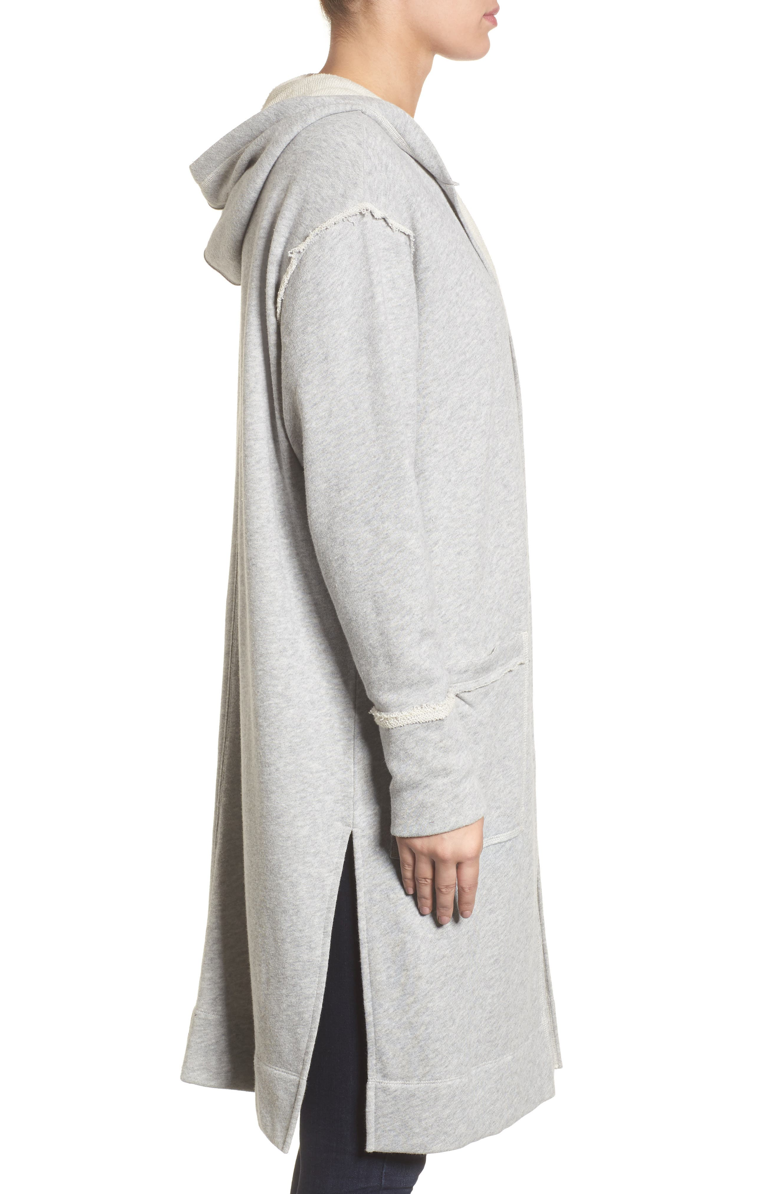 Hooded Long Cardigan,                             Alternate thumbnail 3, color,                             Grey Heather