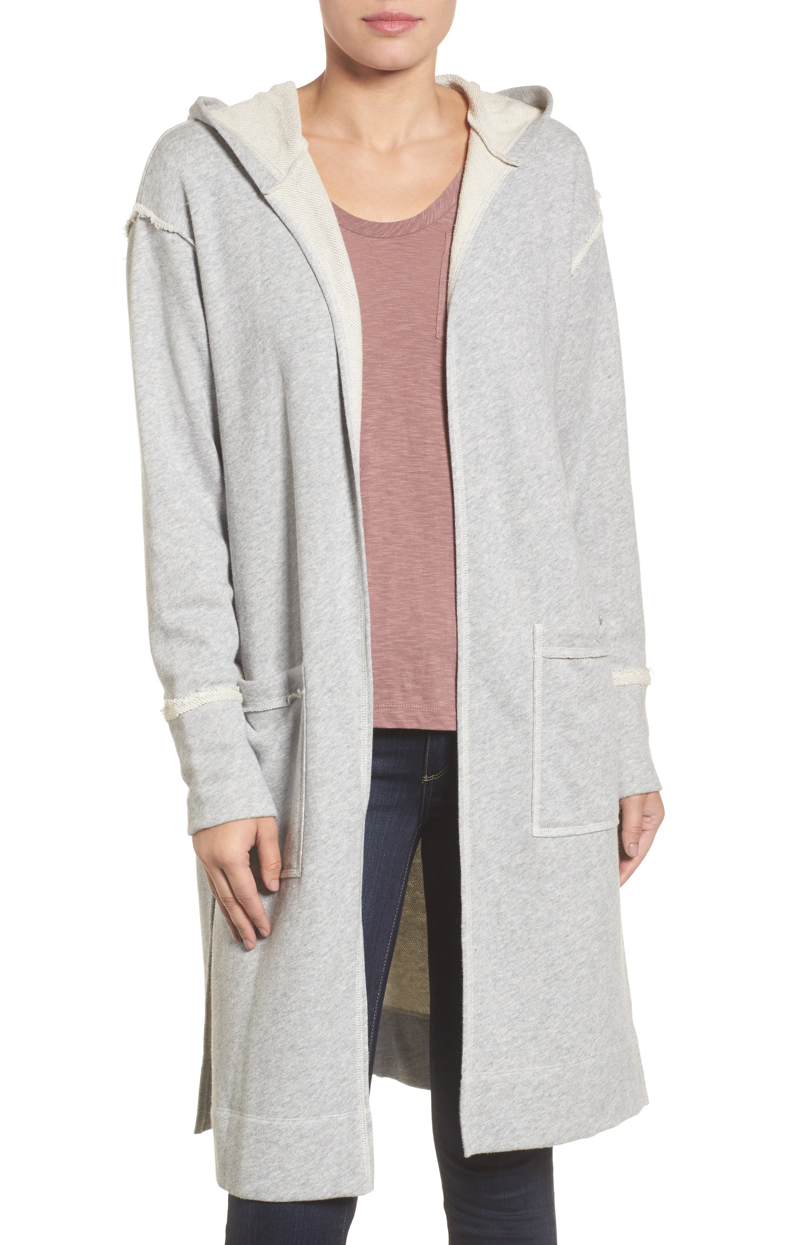 Hooded Long Cardigan,                         Main,                         color, Grey Heather