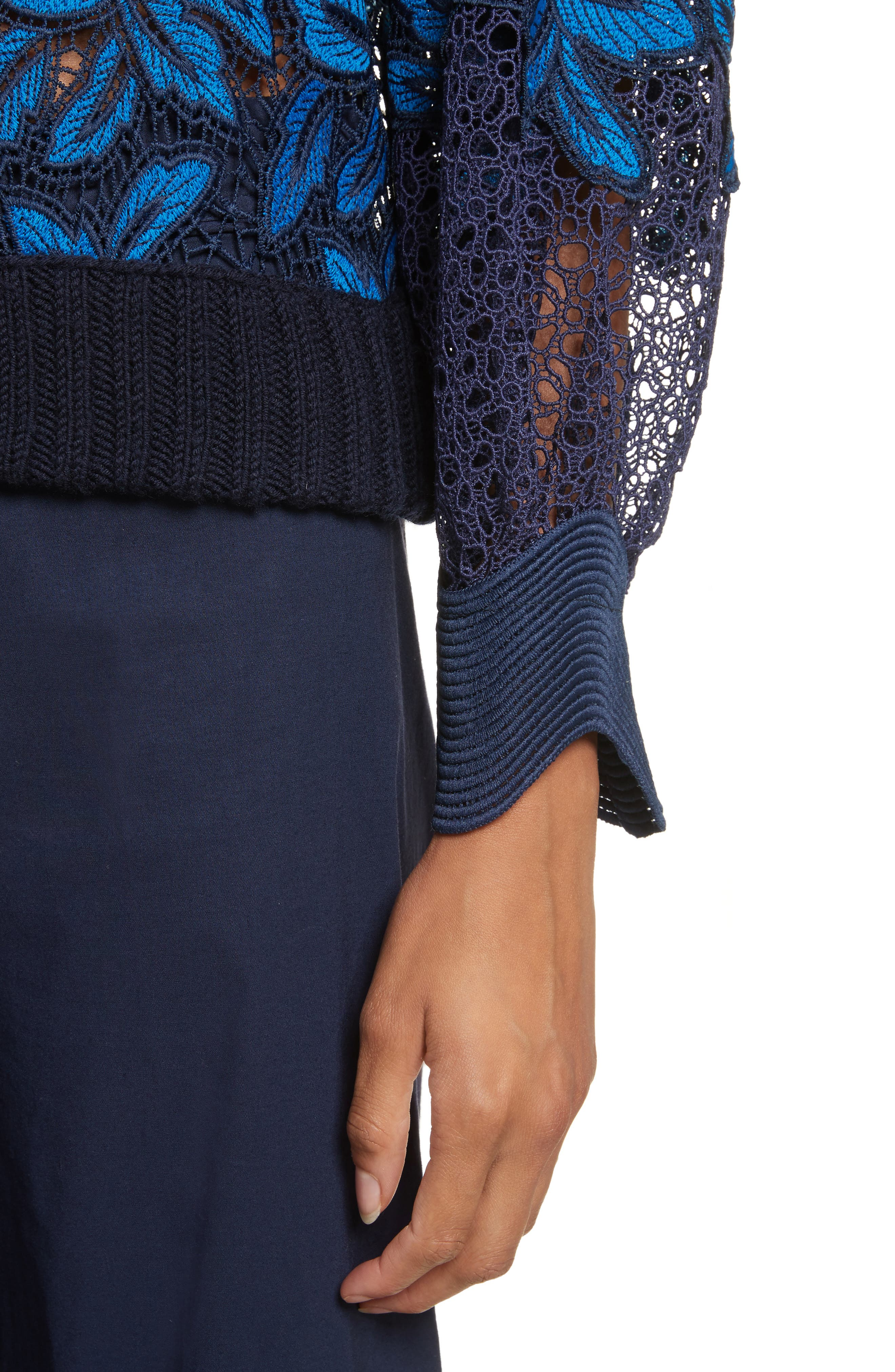 Mosaic Lace Bell Sleeve Sweatshirt,                             Alternate thumbnail 5, color,                             Blue Multi