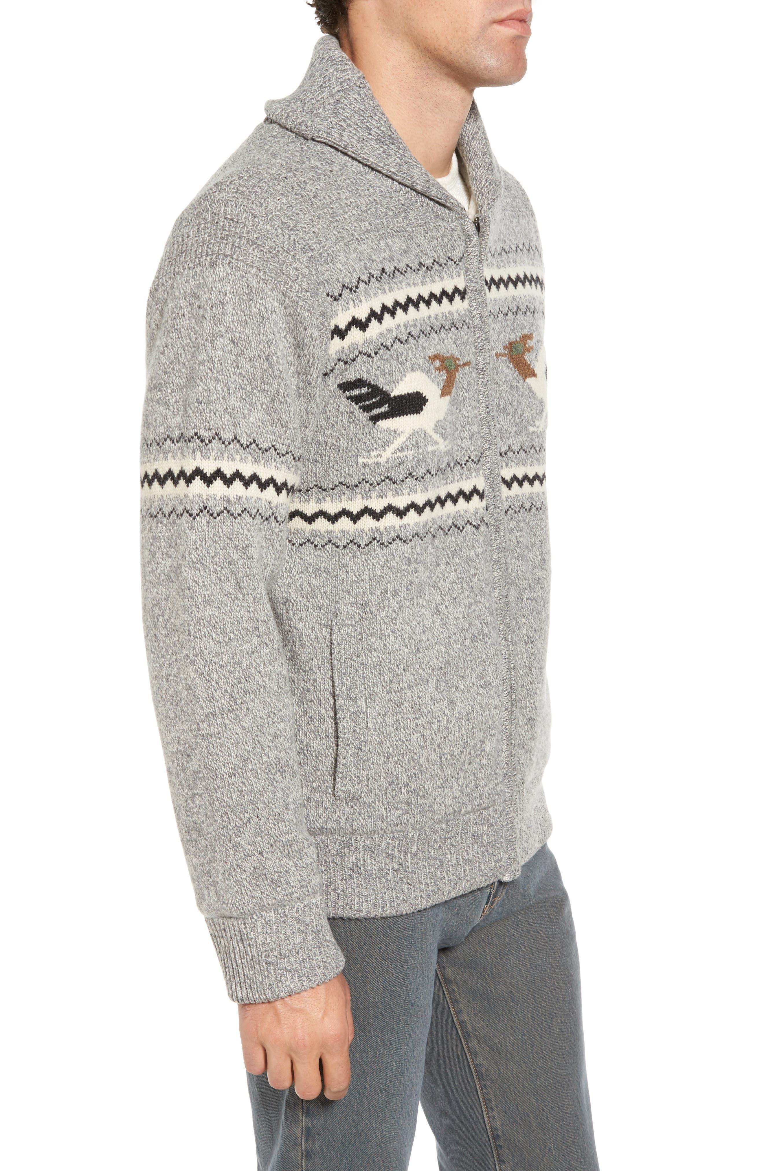 Road Runner Wool Blend Cardigan,                             Alternate thumbnail 3, color,                             Heather Grey