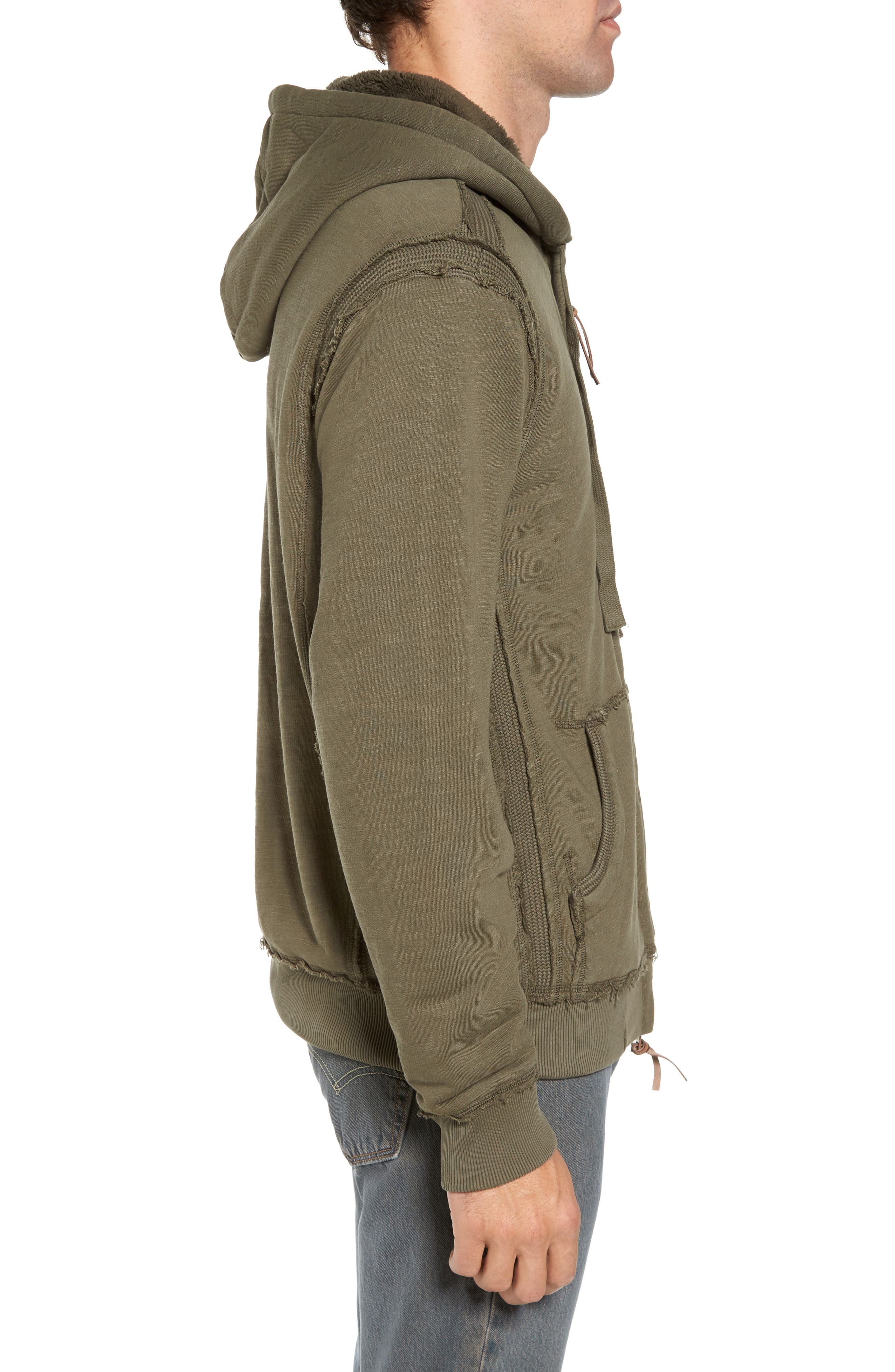 Frosty Pile Zip Front Hoodie,                             Alternate thumbnail 3, color,                             Vintage Olive