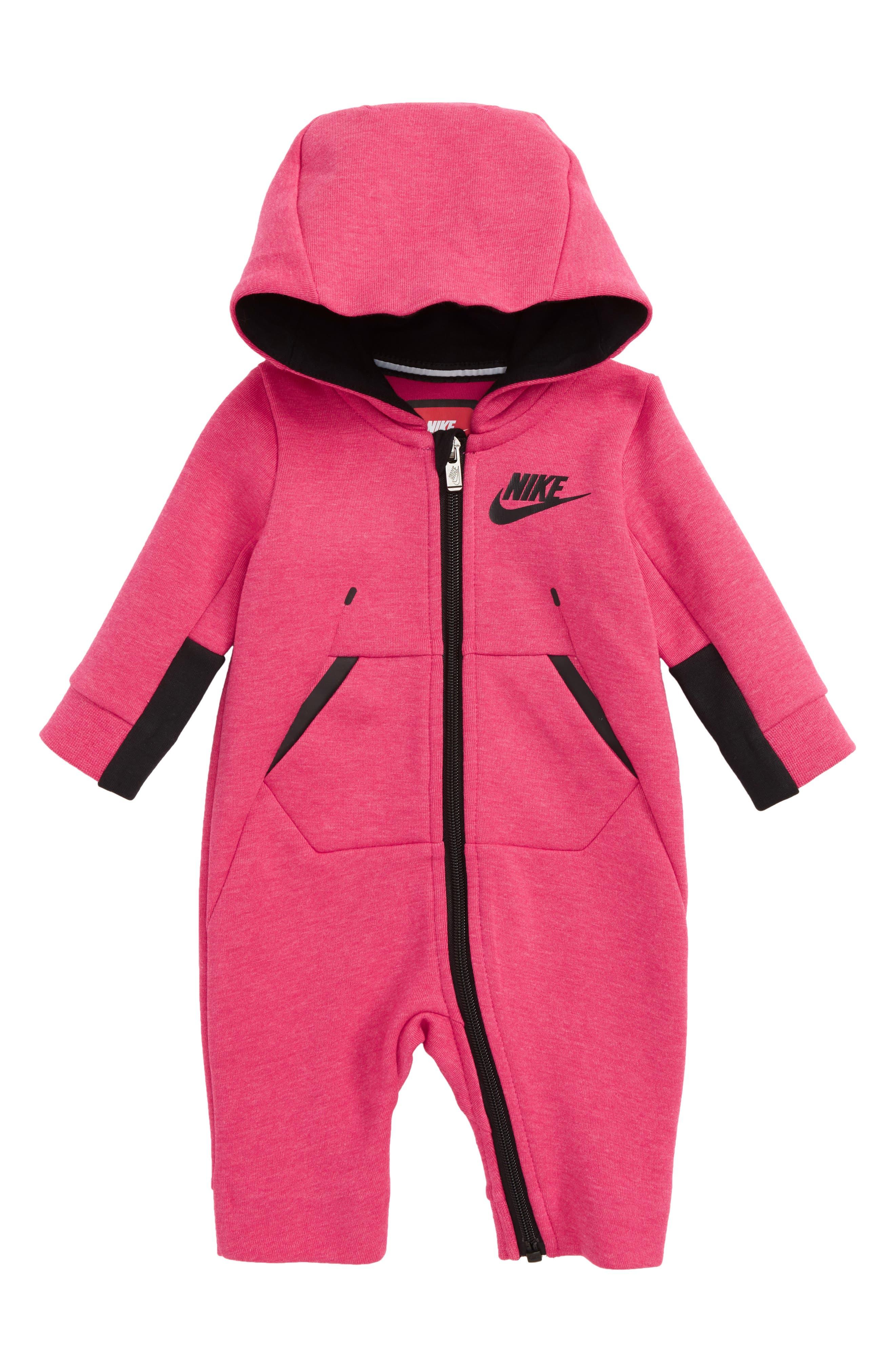 Main Image - Nike Tech Fleece Hooded Romper (Baby Girls)