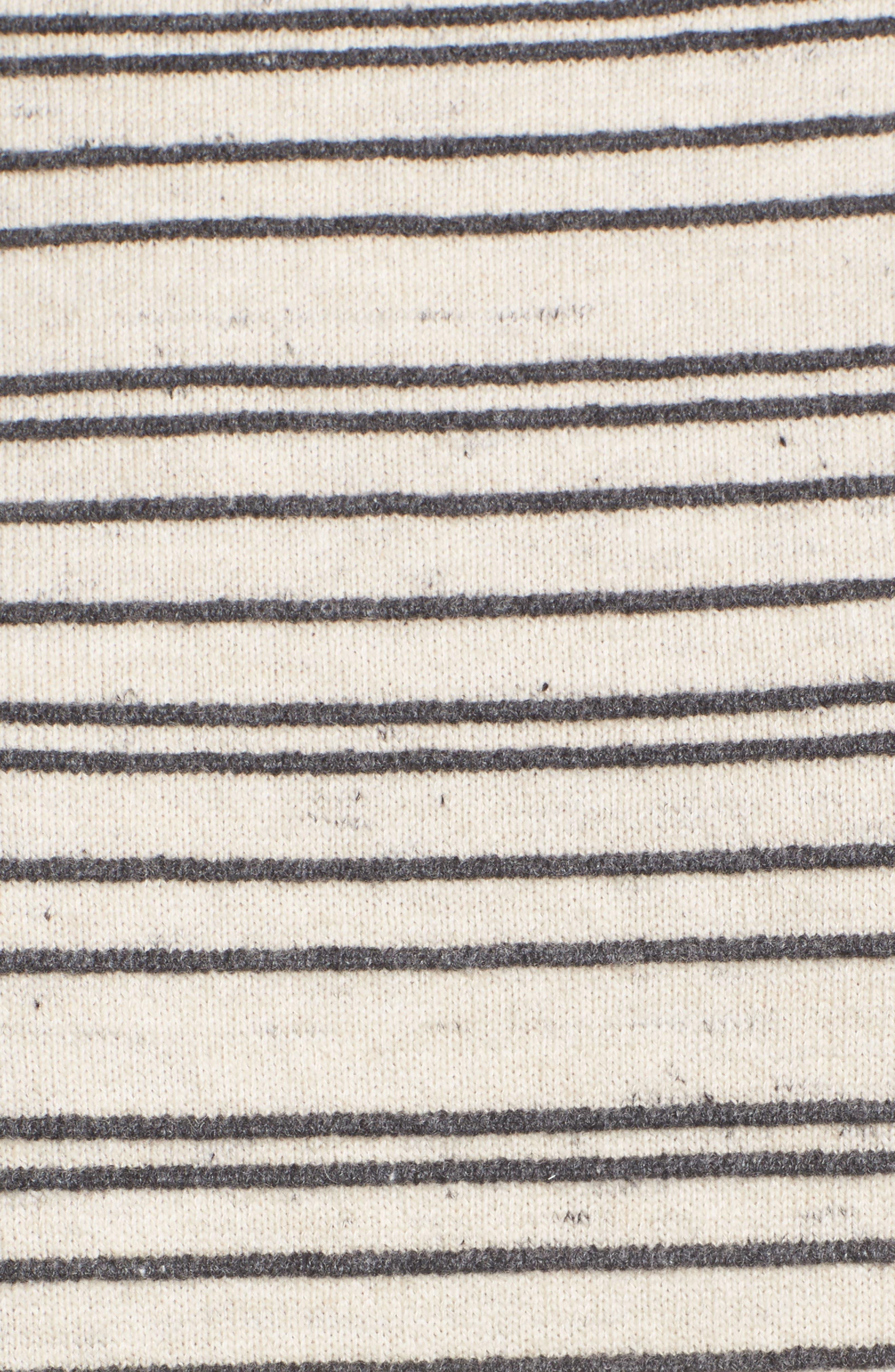 Stripe Organic Cotton Blend Sweater,                             Alternate thumbnail 5, color,                             Maple Oat