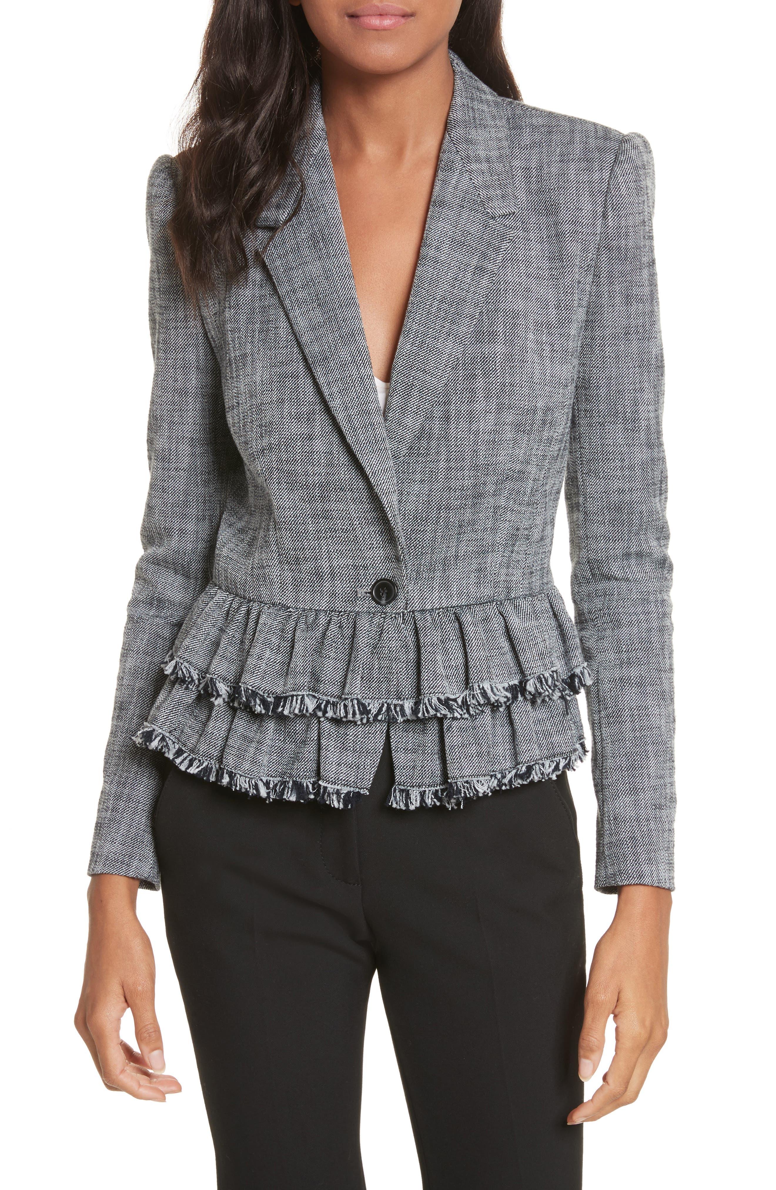 Slub Suiting Jacket,                         Main,                         color, Grey/ Black Combo