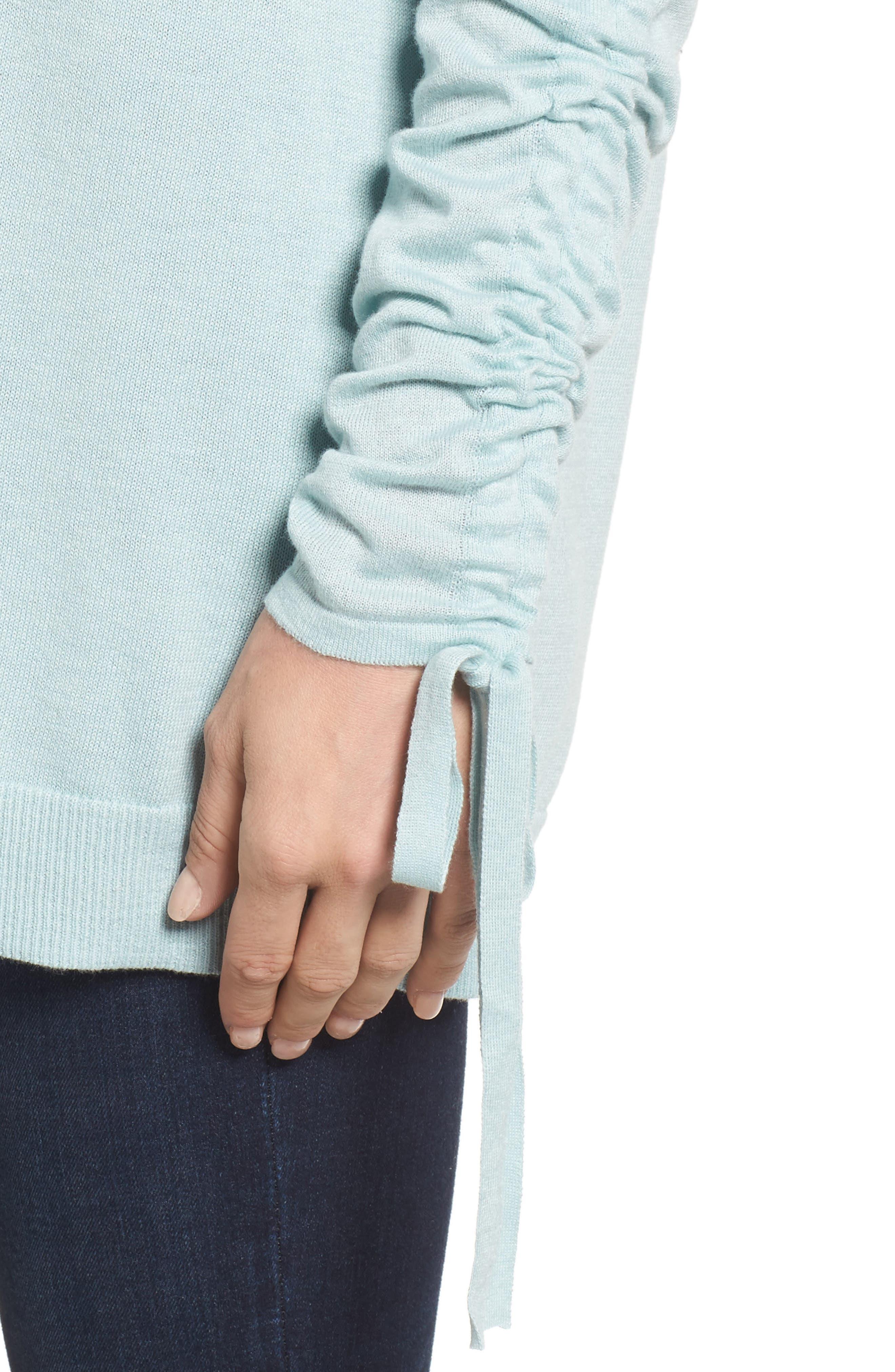 Alternate Image 4  - Halogen® Ruched Sleeve Tunic Sweater (Regular & Petite)