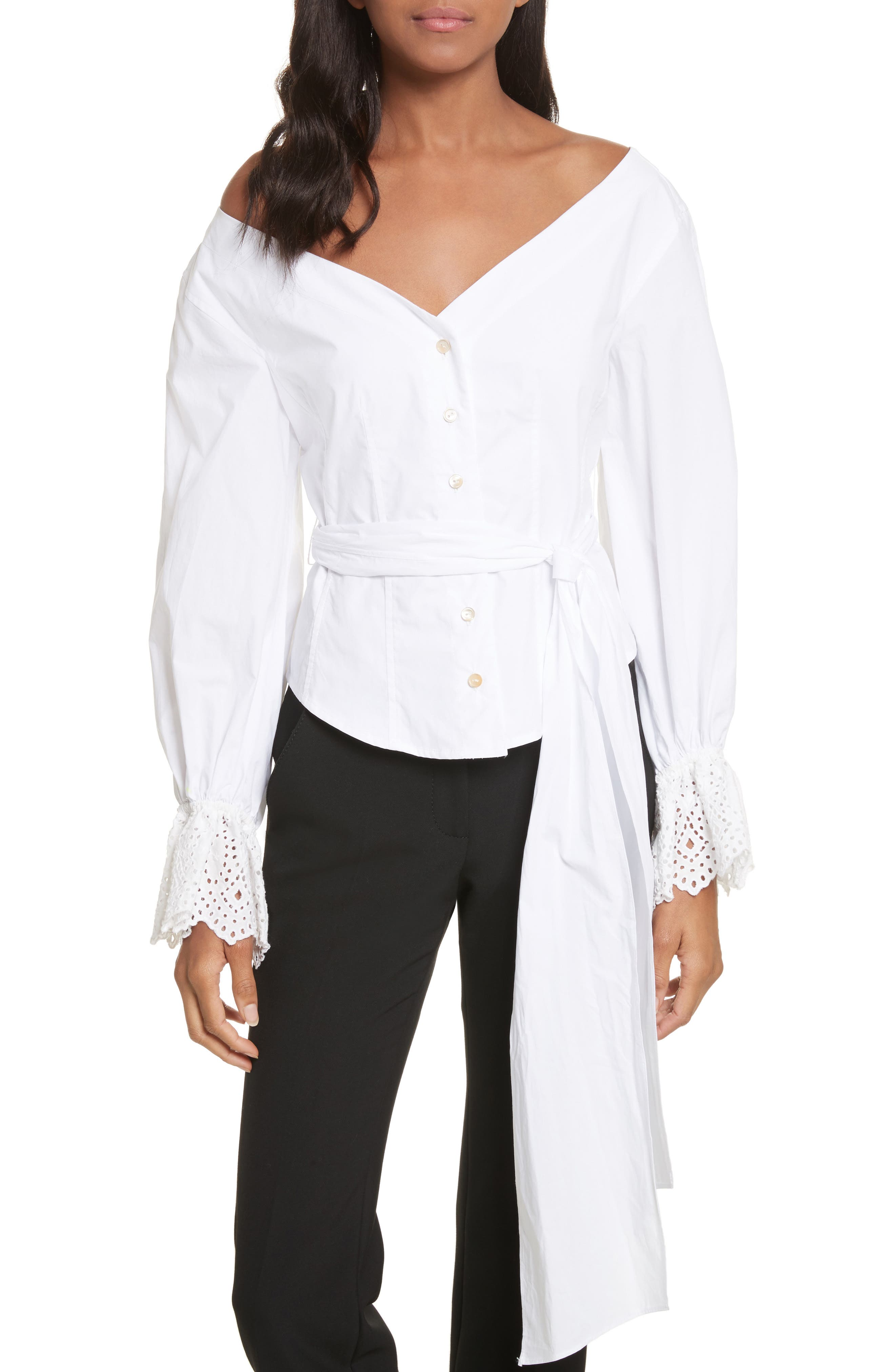 Eyelet Sleeve Poplin Top,                             Main thumbnail 1, color,                             Milk