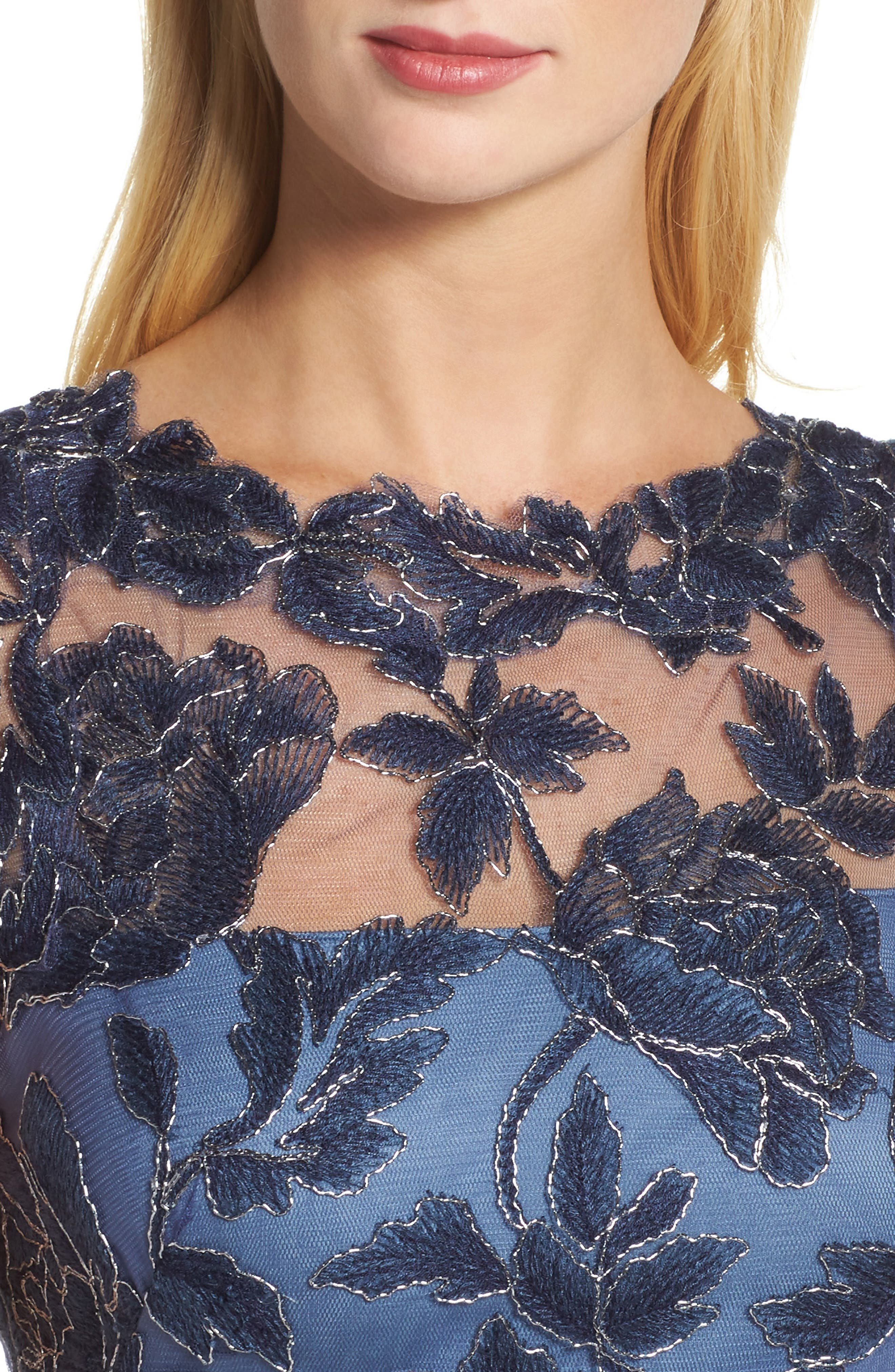 Embroidered Mesh Gown,                             Alternate thumbnail 4, color,                             Navy/ Steel