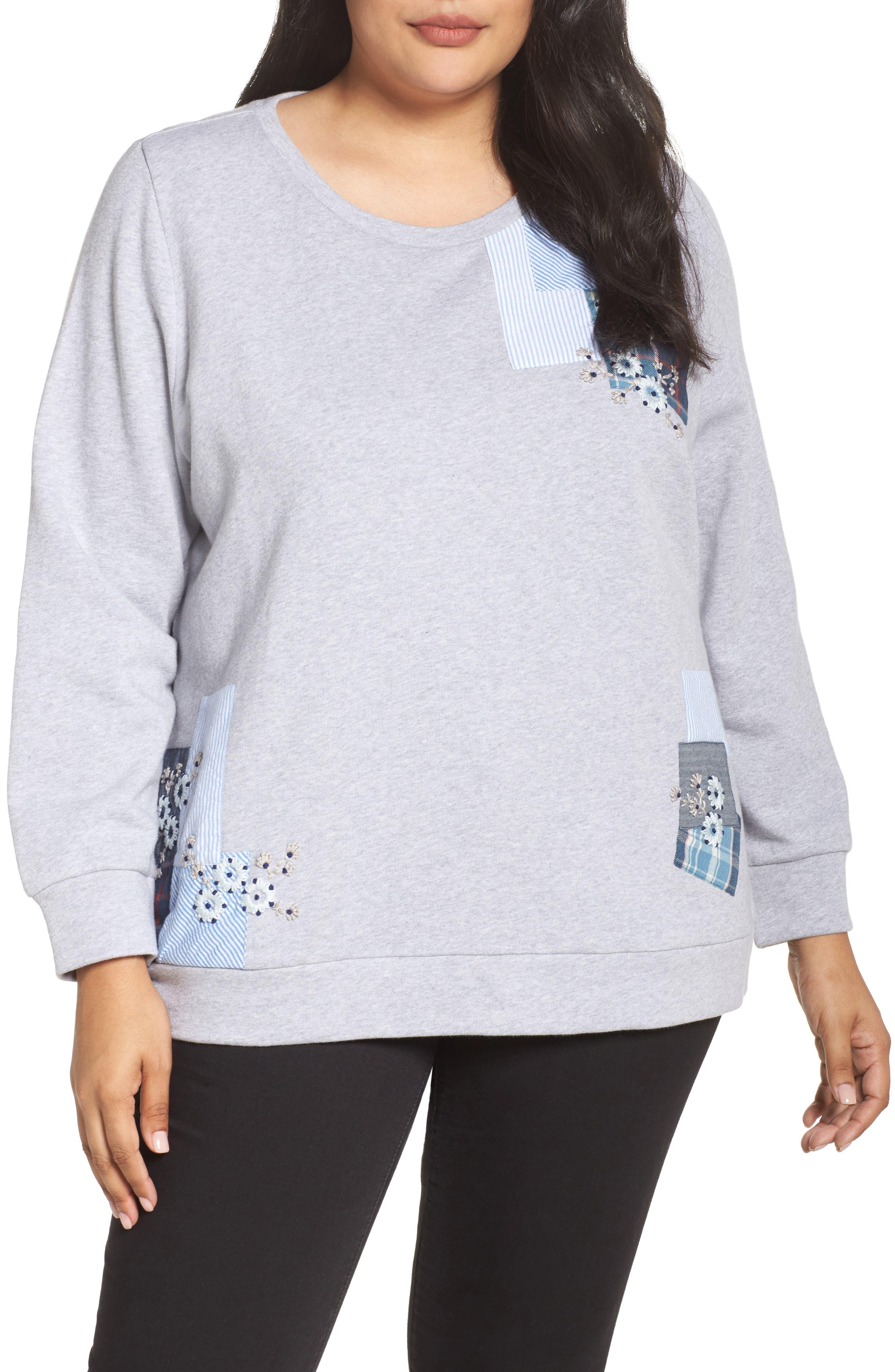 Caslon® Patchwork Sweatshirt (Plus Size)