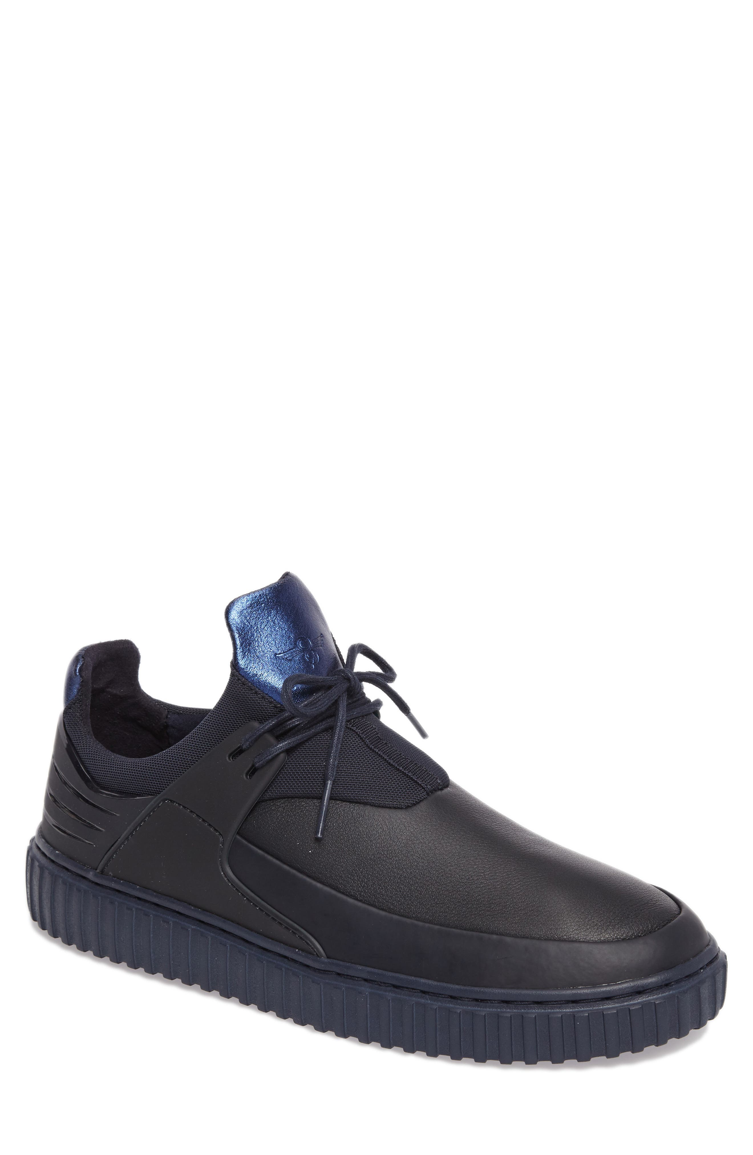 Castucci Mid Sneaker,                         Main,                         color, Navy Leather