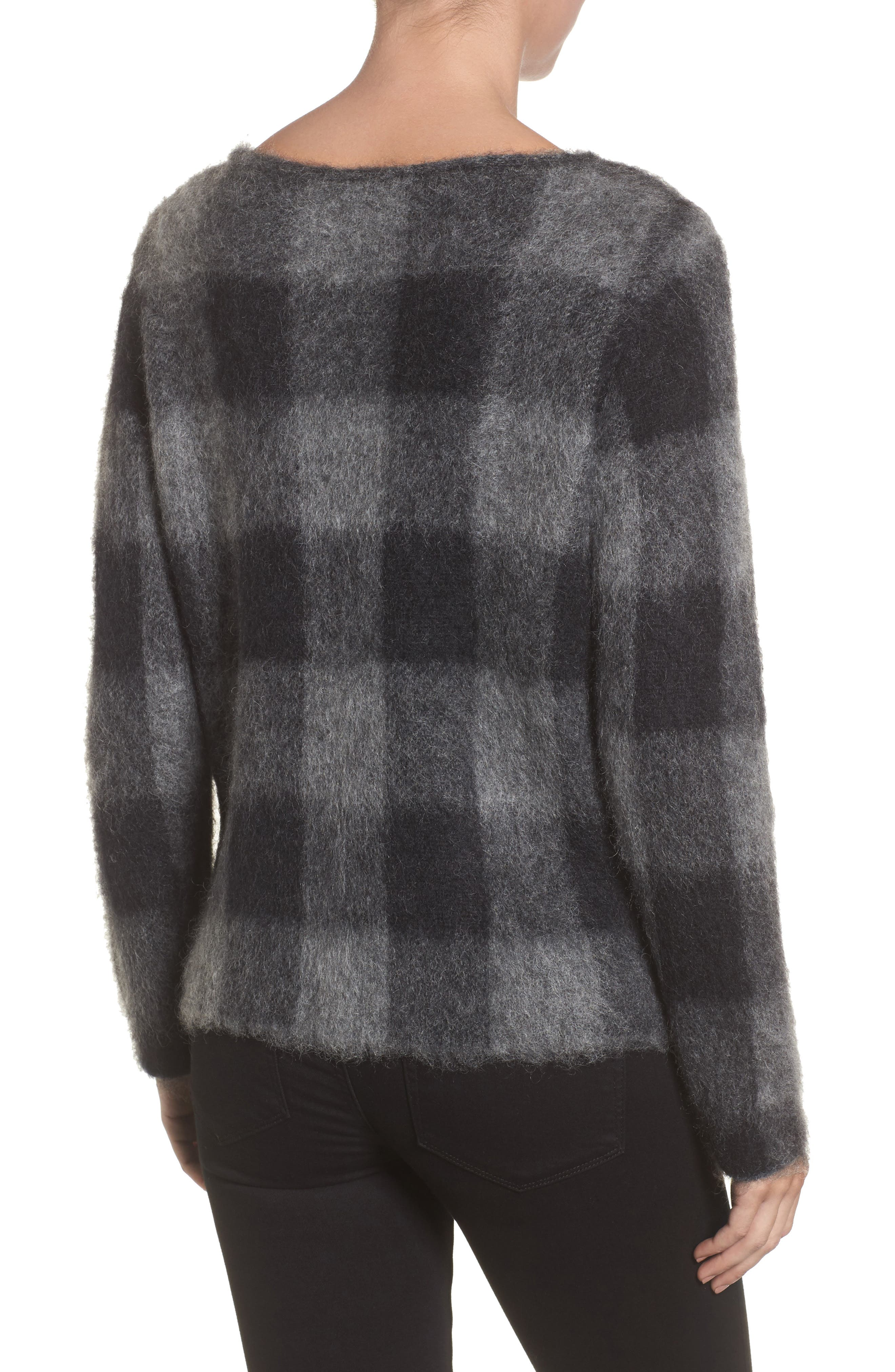 Check Plaid Sweater,                             Alternate thumbnail 2, color,                             Ash