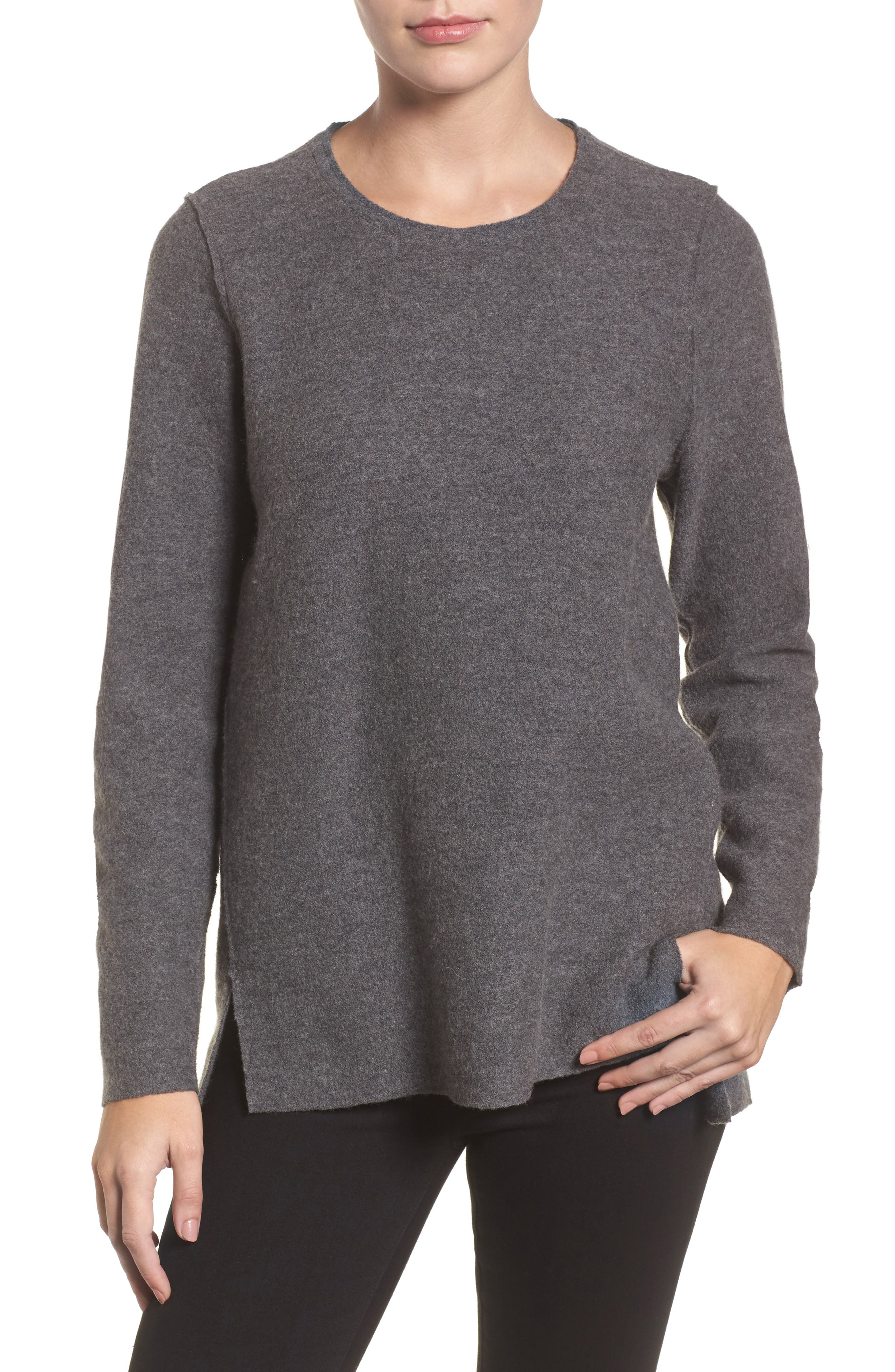 Alternate Image 1 Selected - Eileen Fisher Boiled Merino Wool Top (Regular & Petite)