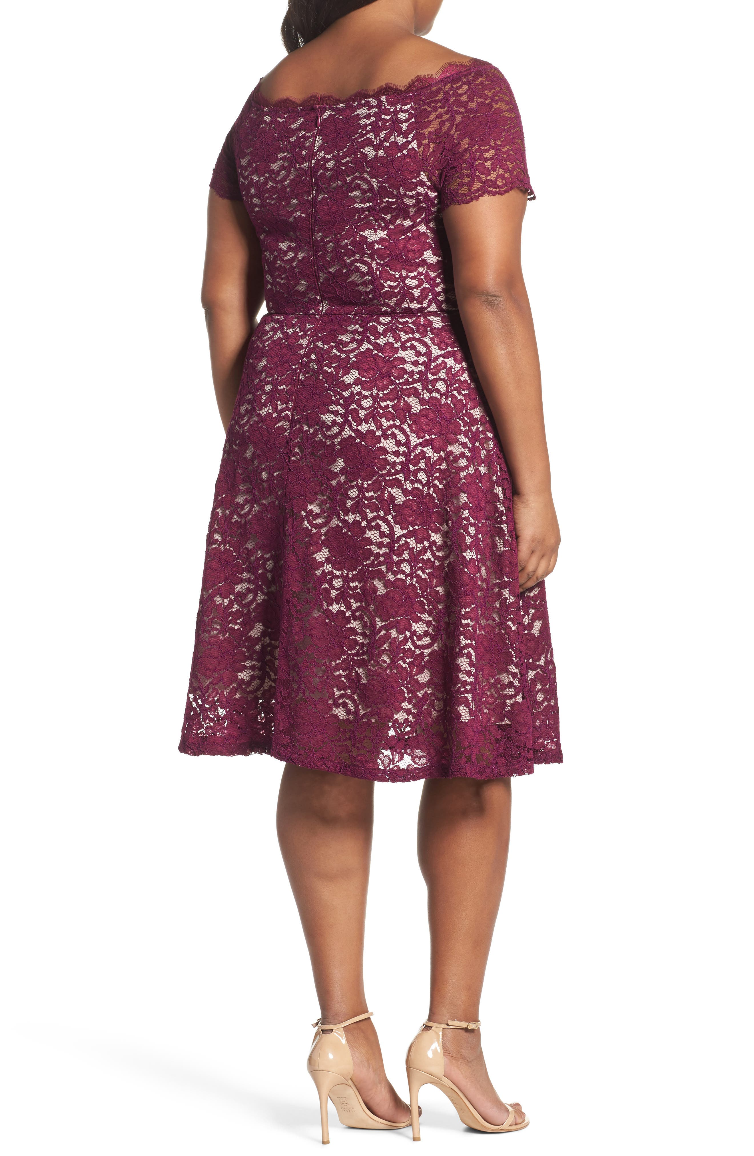 Alternate Image 2  - Adrianna Papell Fit & Flare Lace Dress (Plus Size)