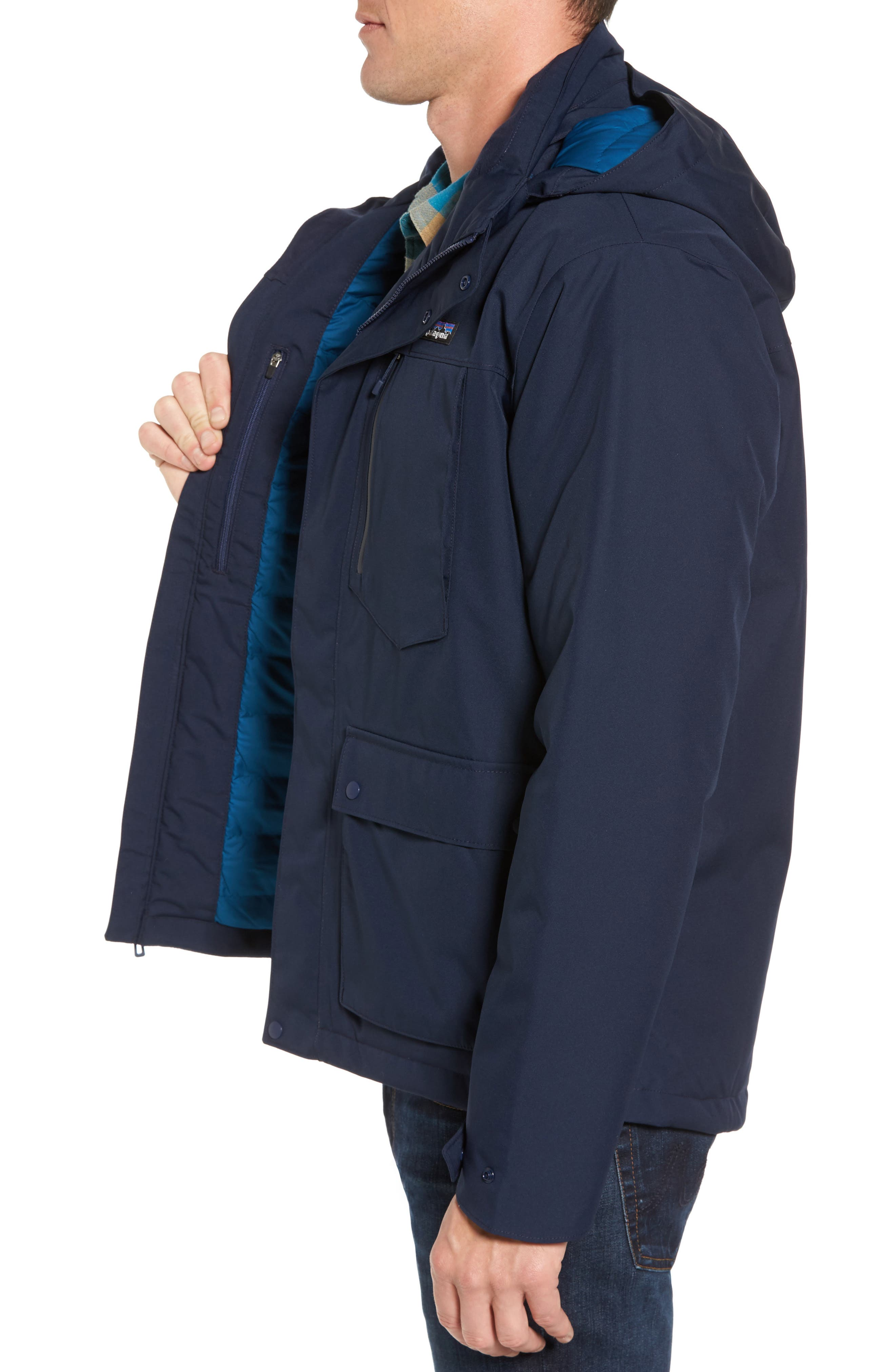 Topley Waterproof Jacket,                             Alternate thumbnail 3, color,                             Navy Blue