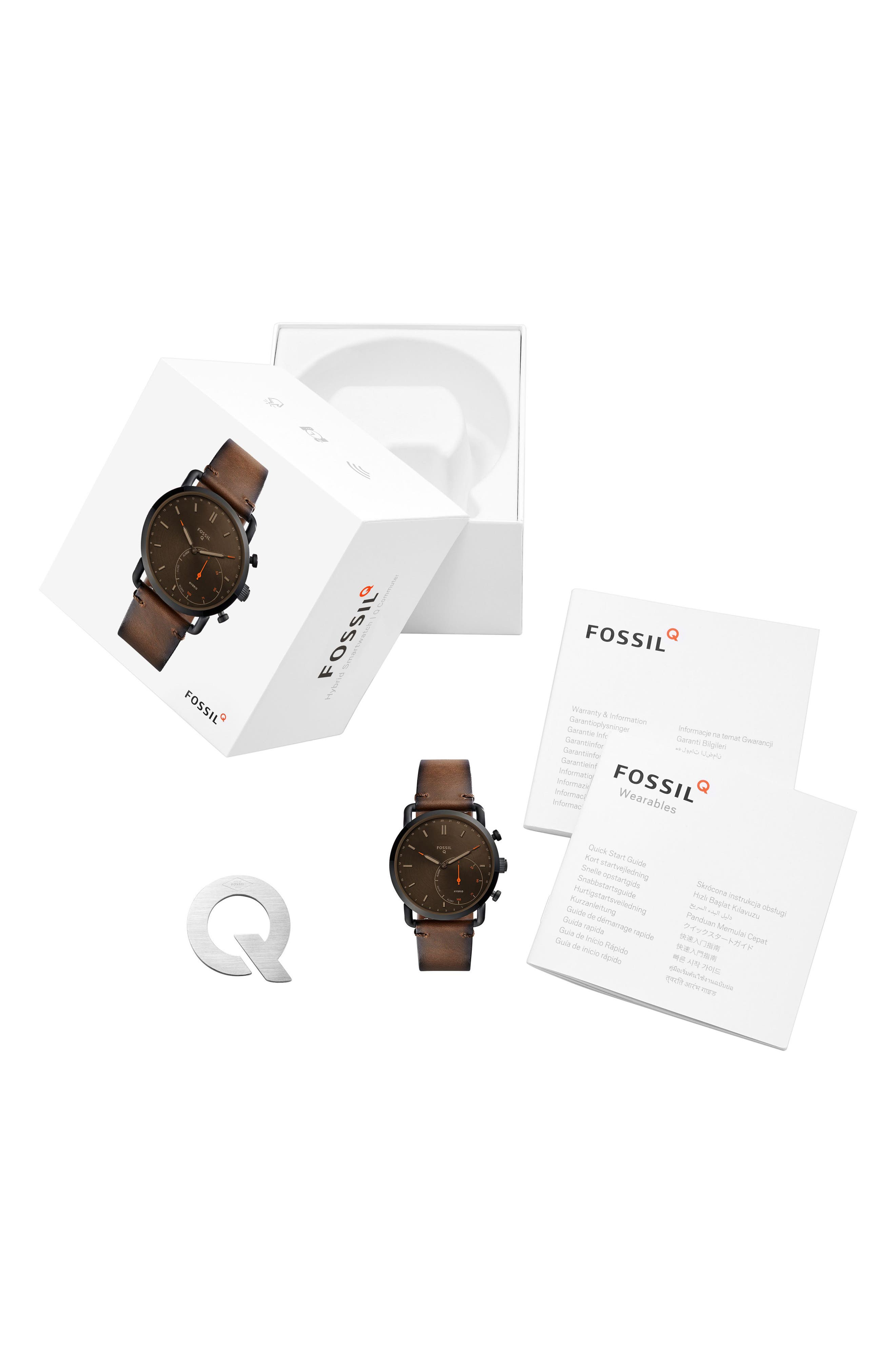 Commuter Leather Strap Hybrid Smart Watch, 42mm,                             Alternate thumbnail 3, color,                             Brown/ Black