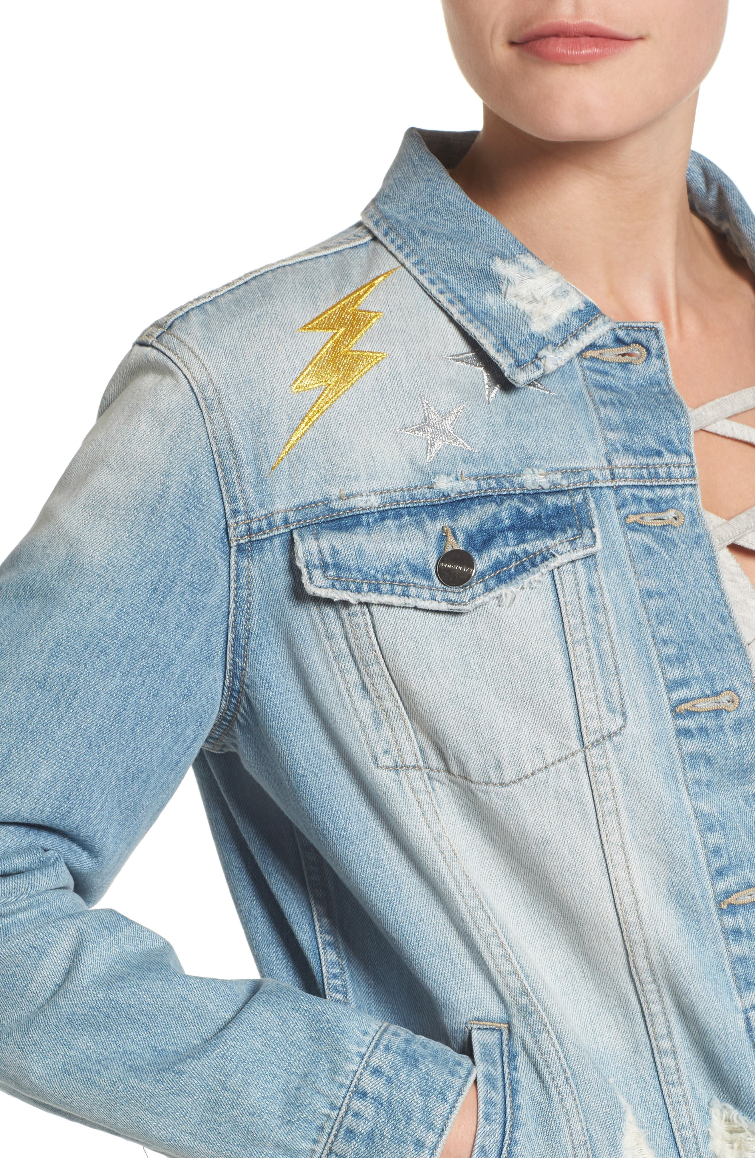 Milkyway Walker Denim Jacket,                             Alternate thumbnail 4, color,                             Margaux Wash