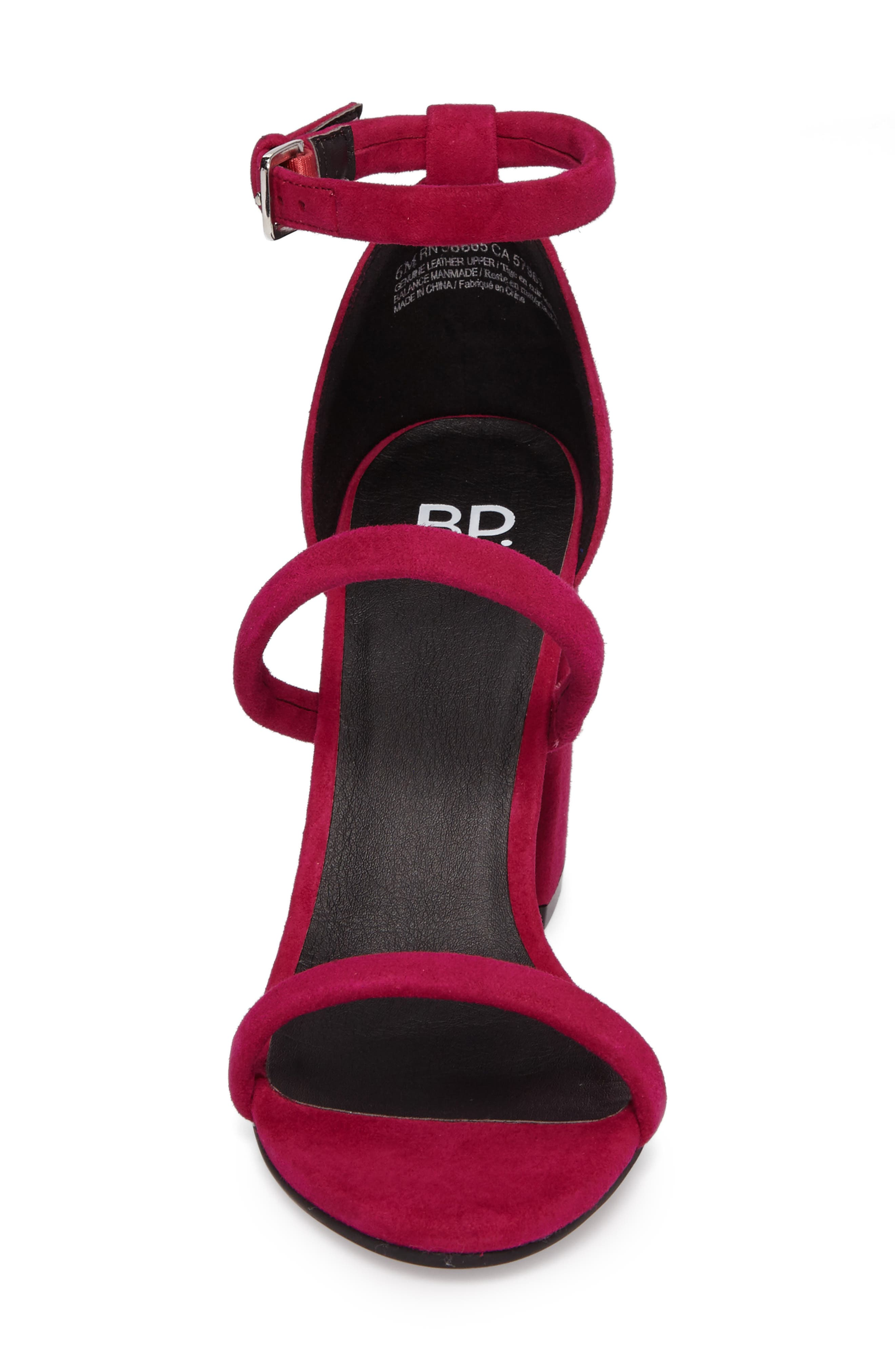 Carly Strappy Sandal,                             Alternate thumbnail 4, color,                             Fuschia Suede