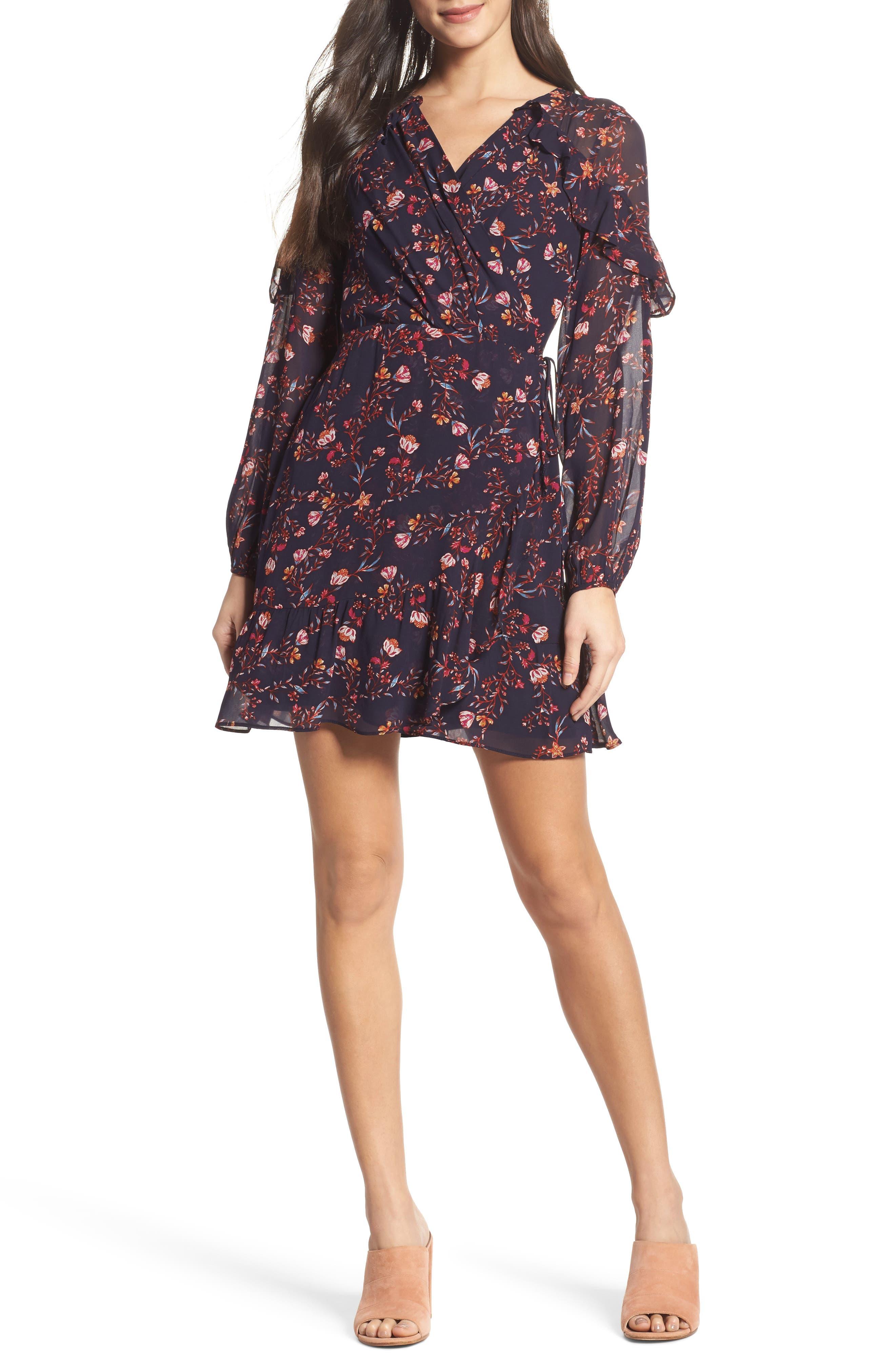 Esther Ruffle Wrap Dress,                         Main,                         color, Navy Multi