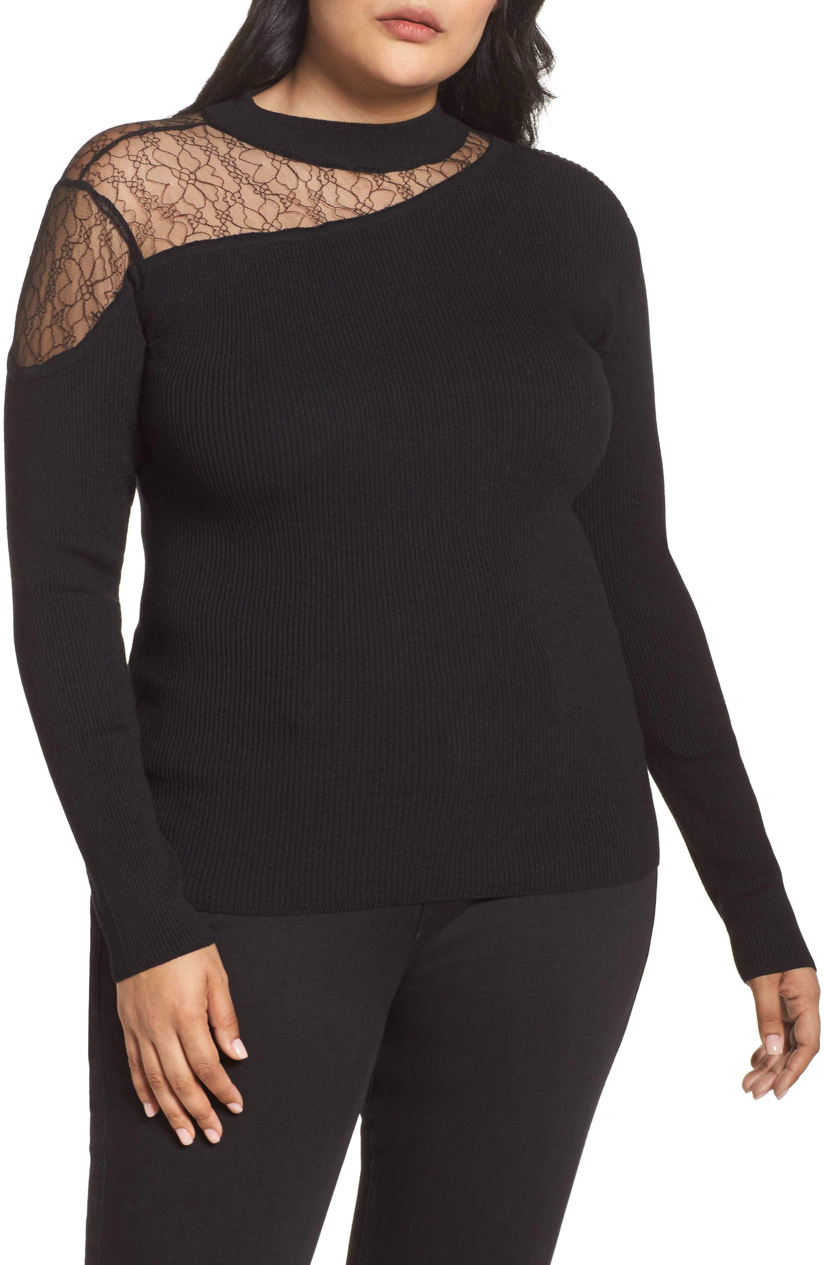 Lace Inset Ribbed Sweater,                         Main,                         color, Black