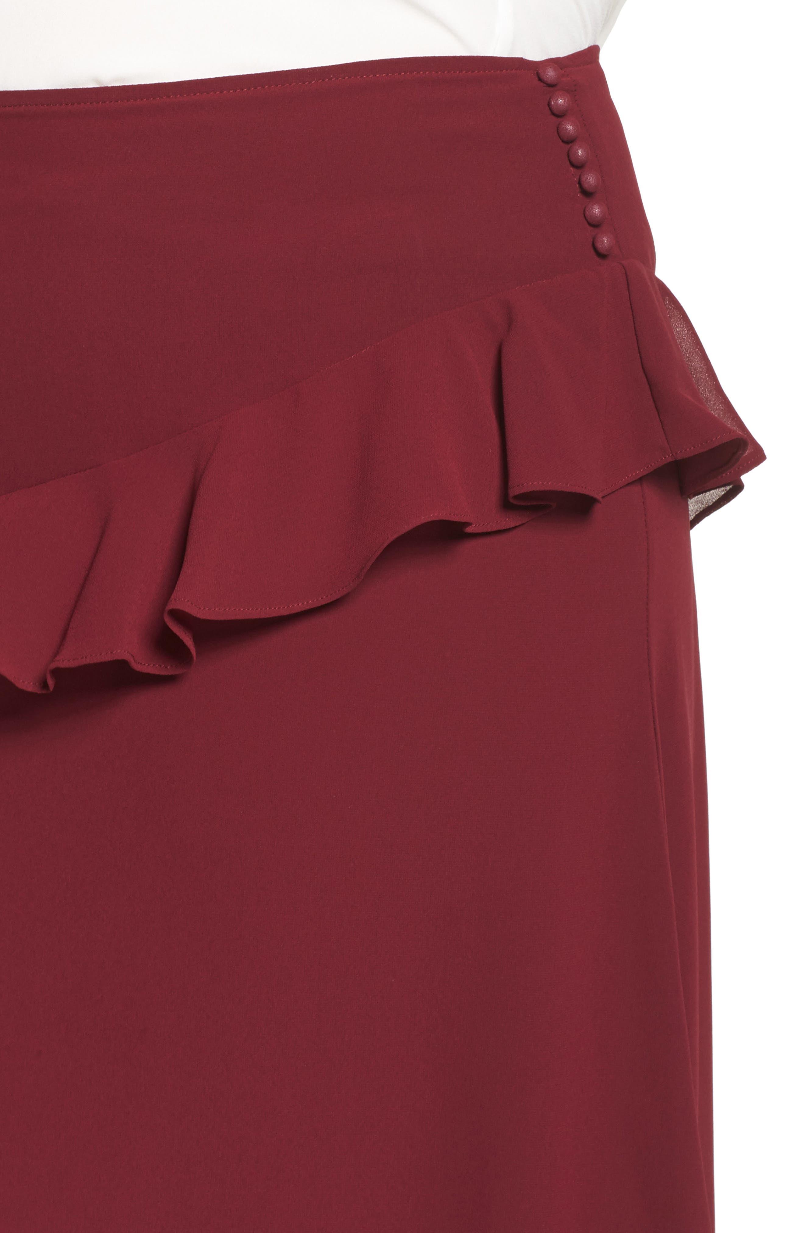 Ruffled Georgette Skirt,                             Alternate thumbnail 4, color,                             Burgundy