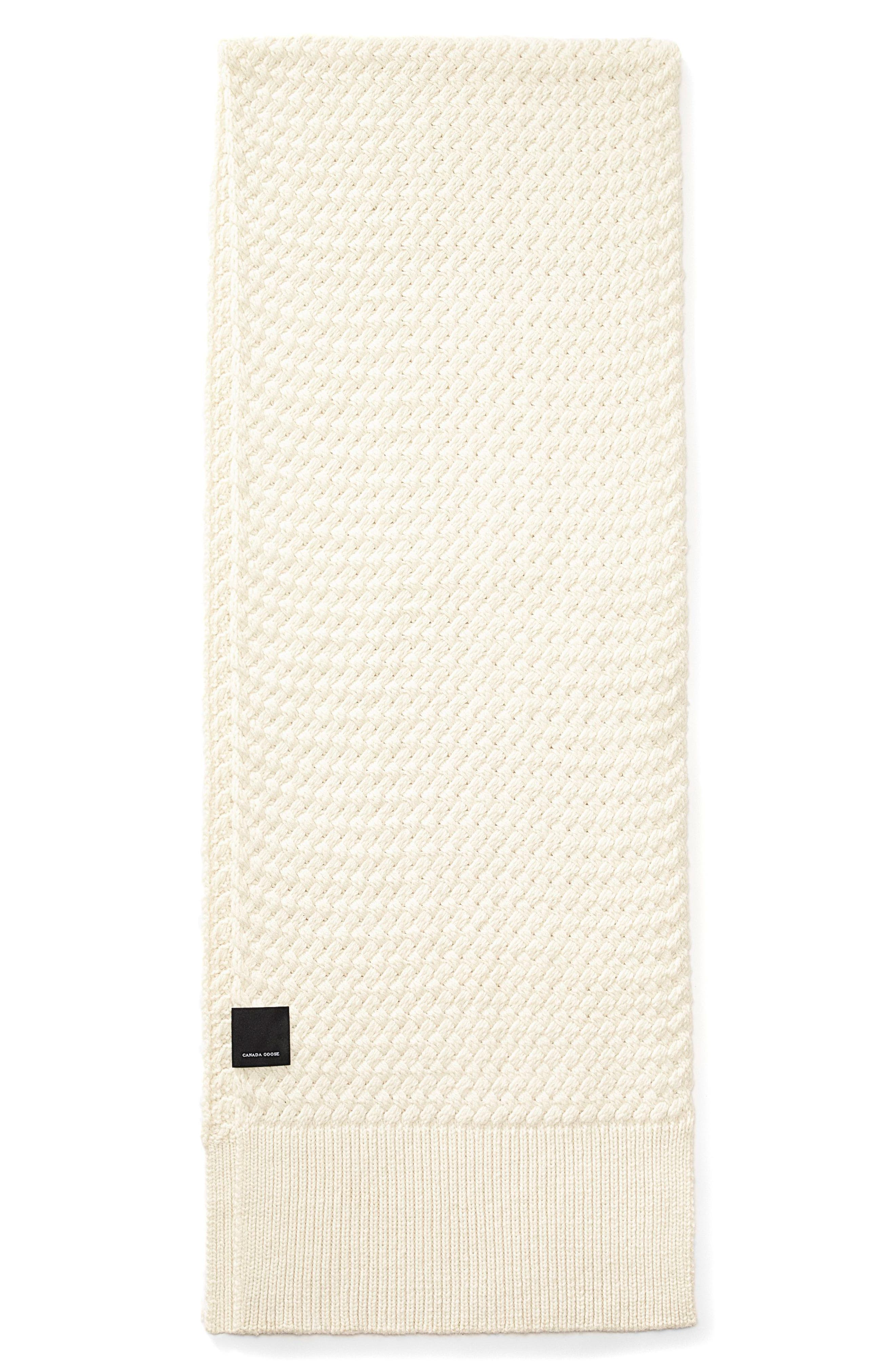 Basket Weave Merino Wool Scarf,                             Main thumbnail 1, color,                             Ivory