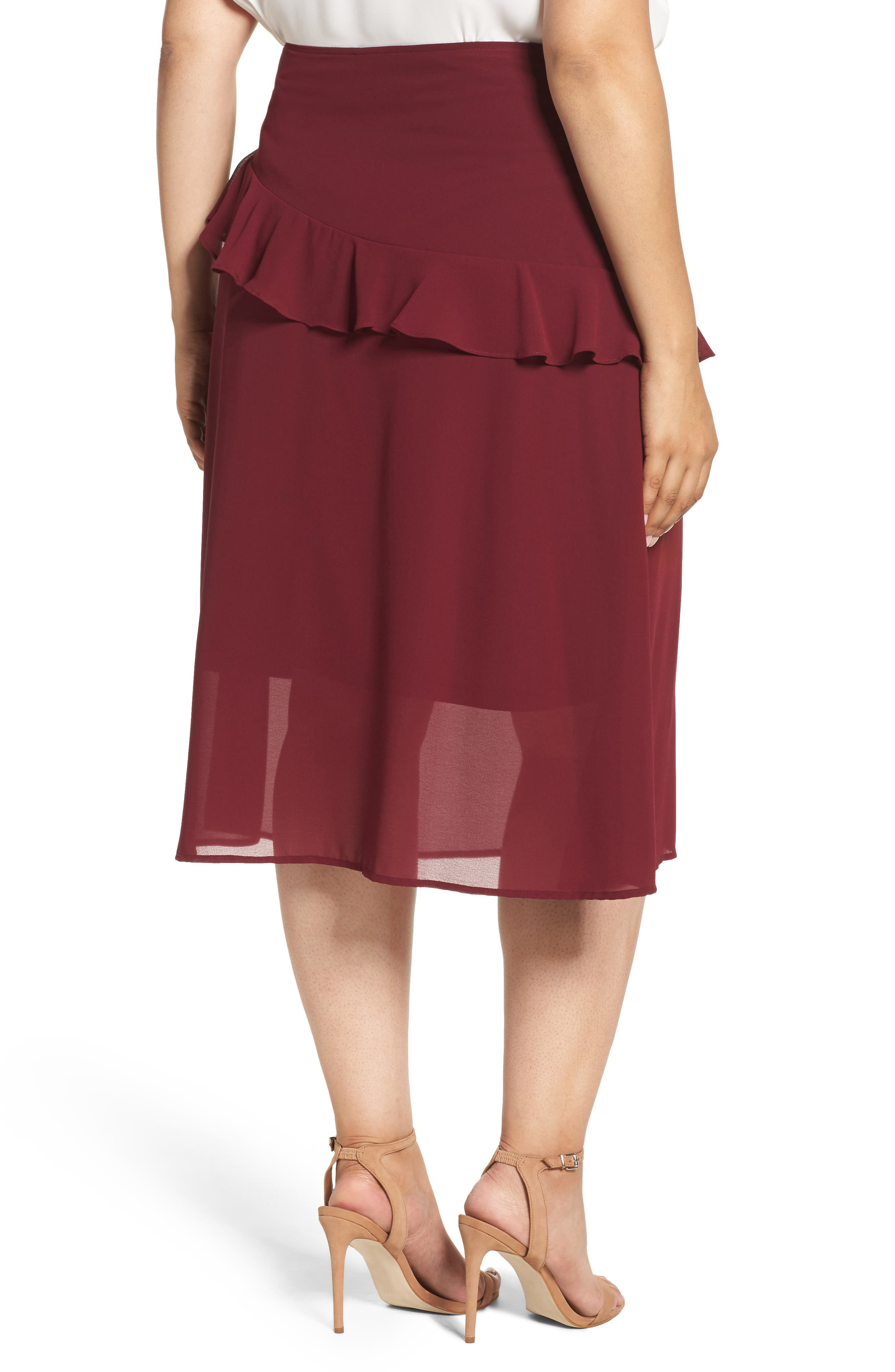 Ruffled Georgette Skirt,                             Alternate thumbnail 2, color,                             Burgundy