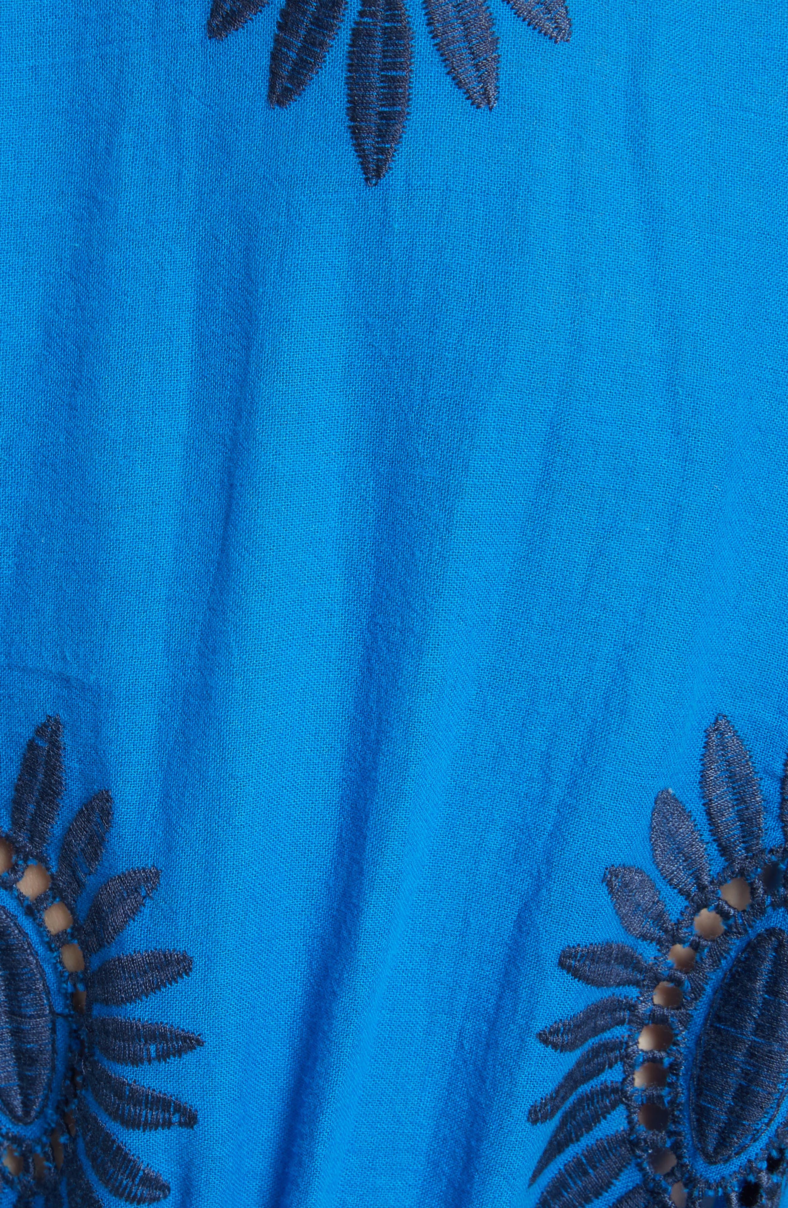 Cotton Eyelet Maxi Dress,                             Alternate thumbnail 5, color,                             Blue/ Navy