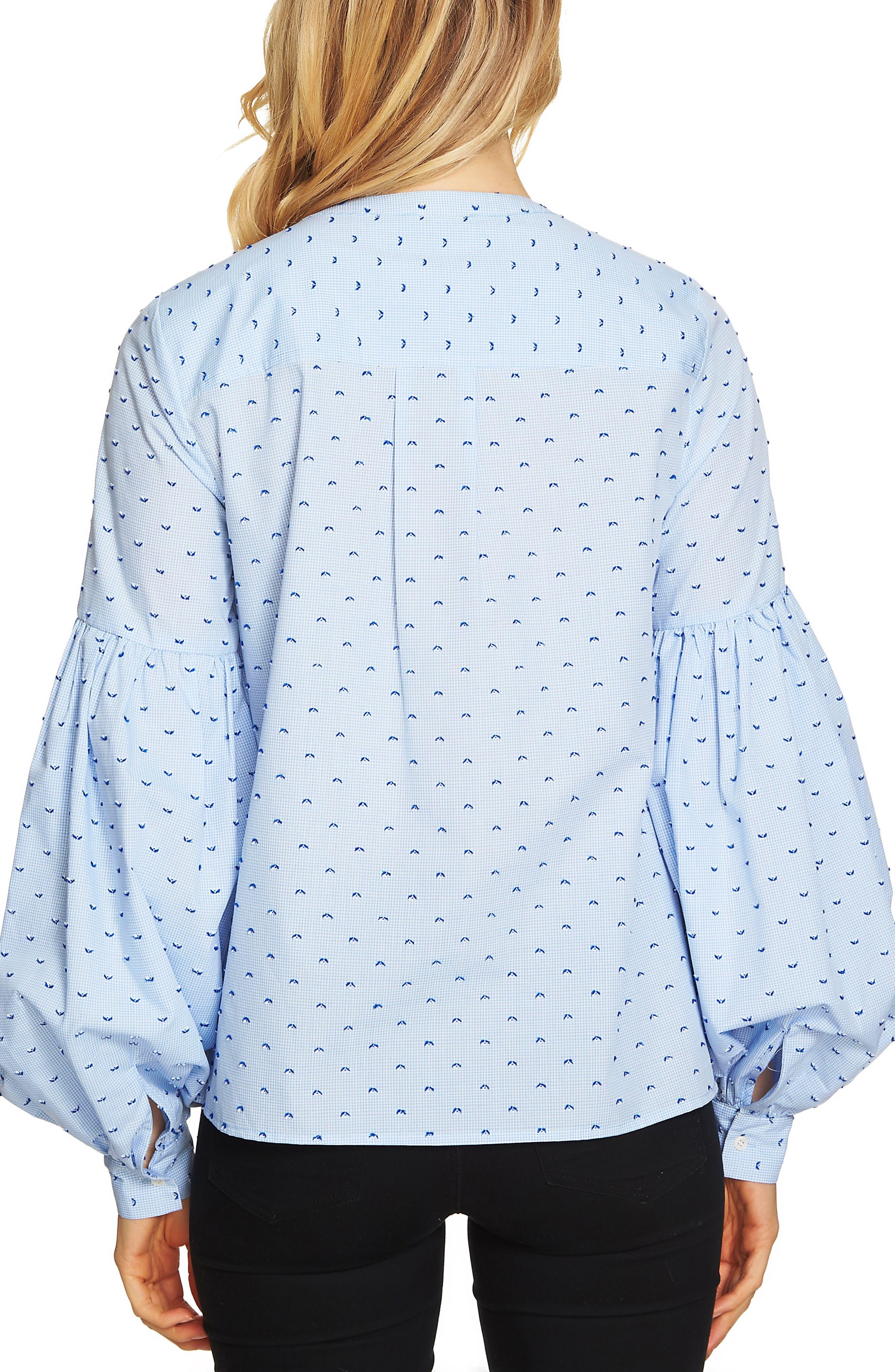 Alternate Image 2  - CeCe Blouson Sleeve Mini Check Blouse