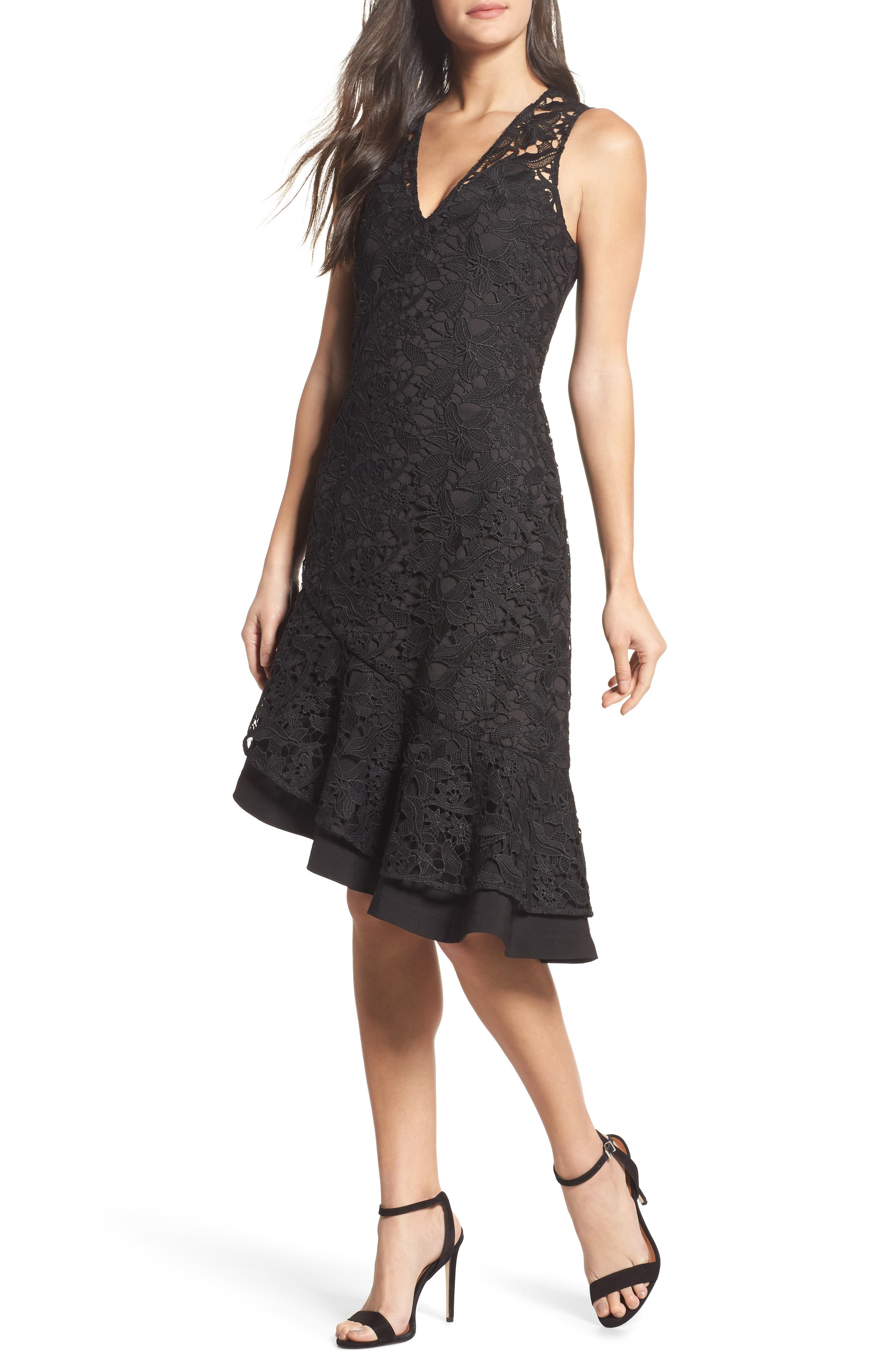 Lace Asymmetrical Dress,                             Main thumbnail 1, color,                             Black