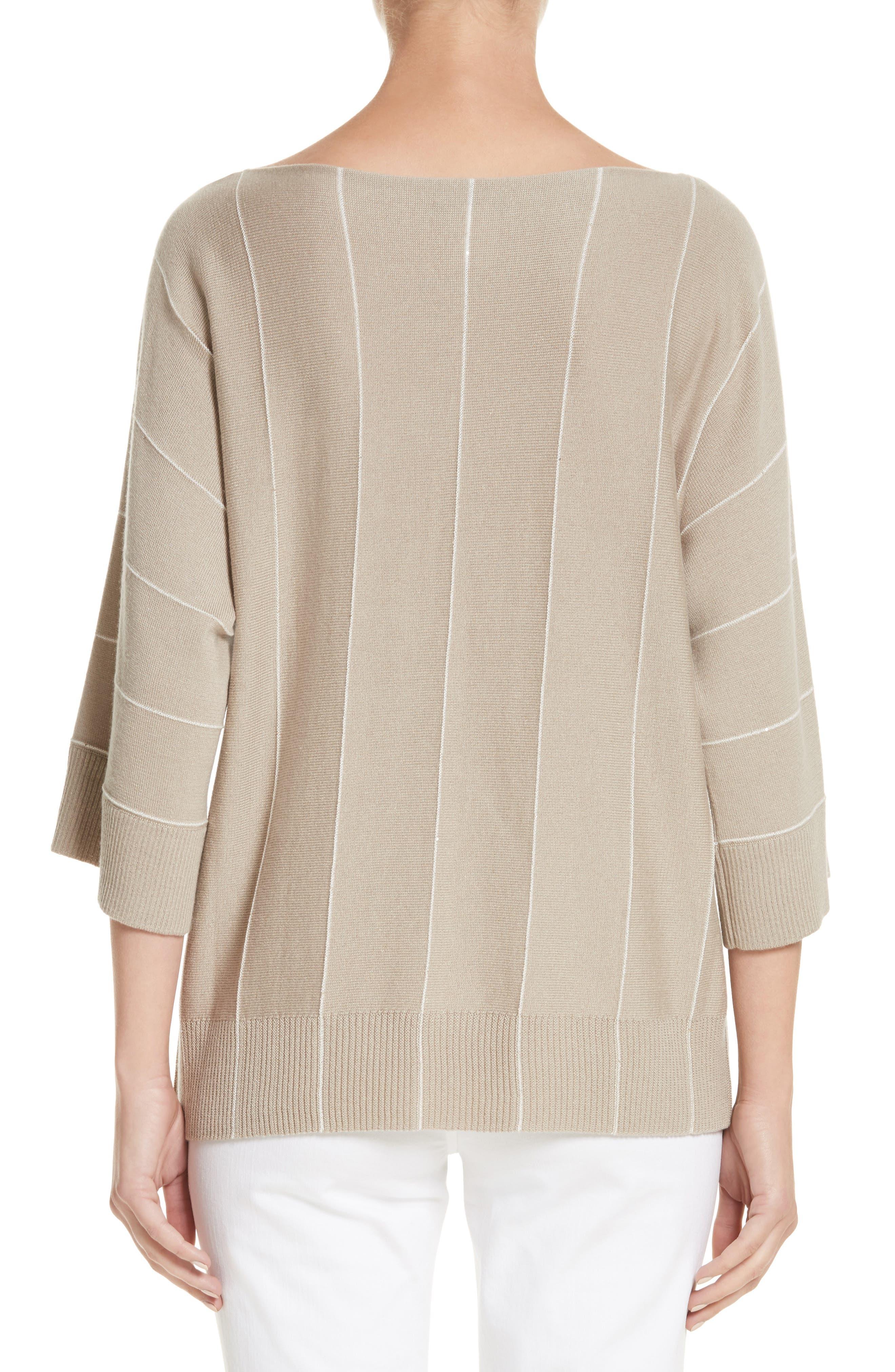 Sequin Knit Cashmere & Silk Pullover,                             Alternate thumbnail 2, color,                             Khaki Multi