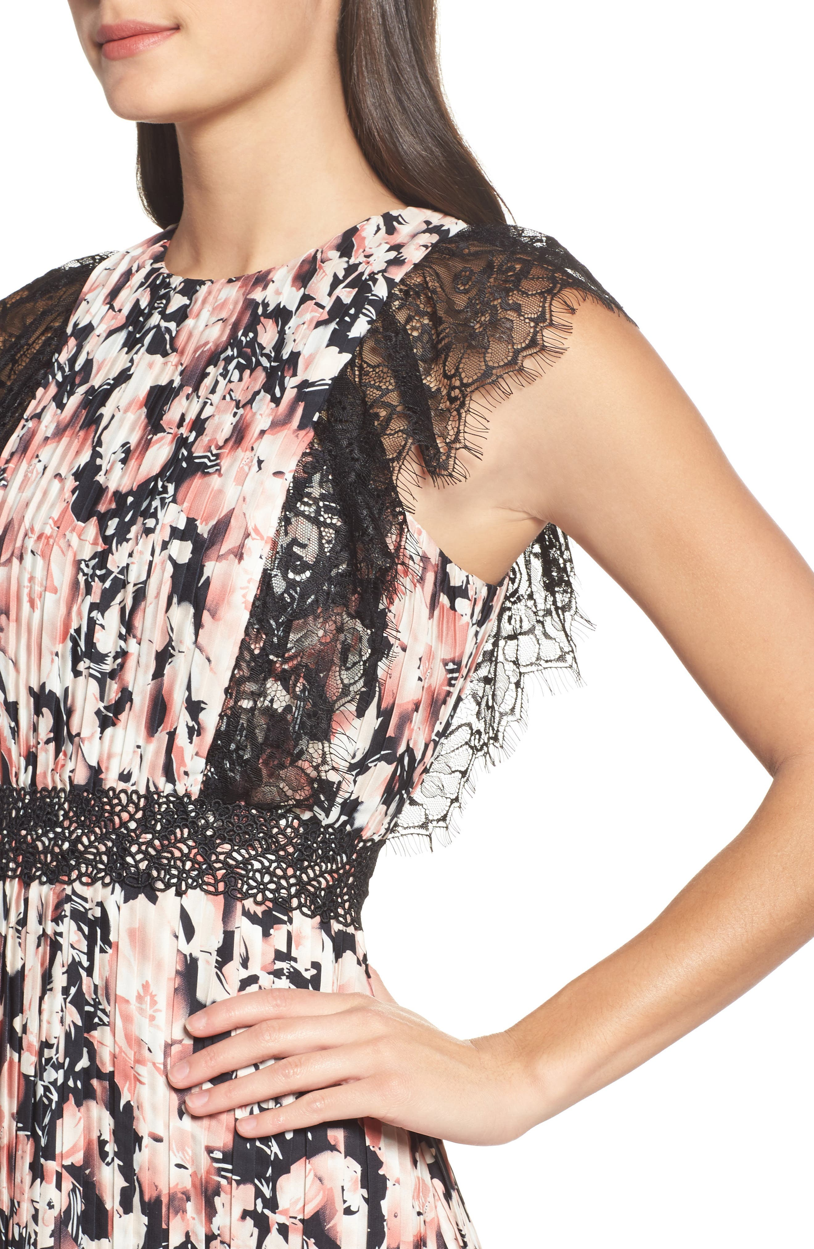 Alternate Image 4  - Foxiedox Jasmine Lace Trim Pleated Floral Midi Dress
