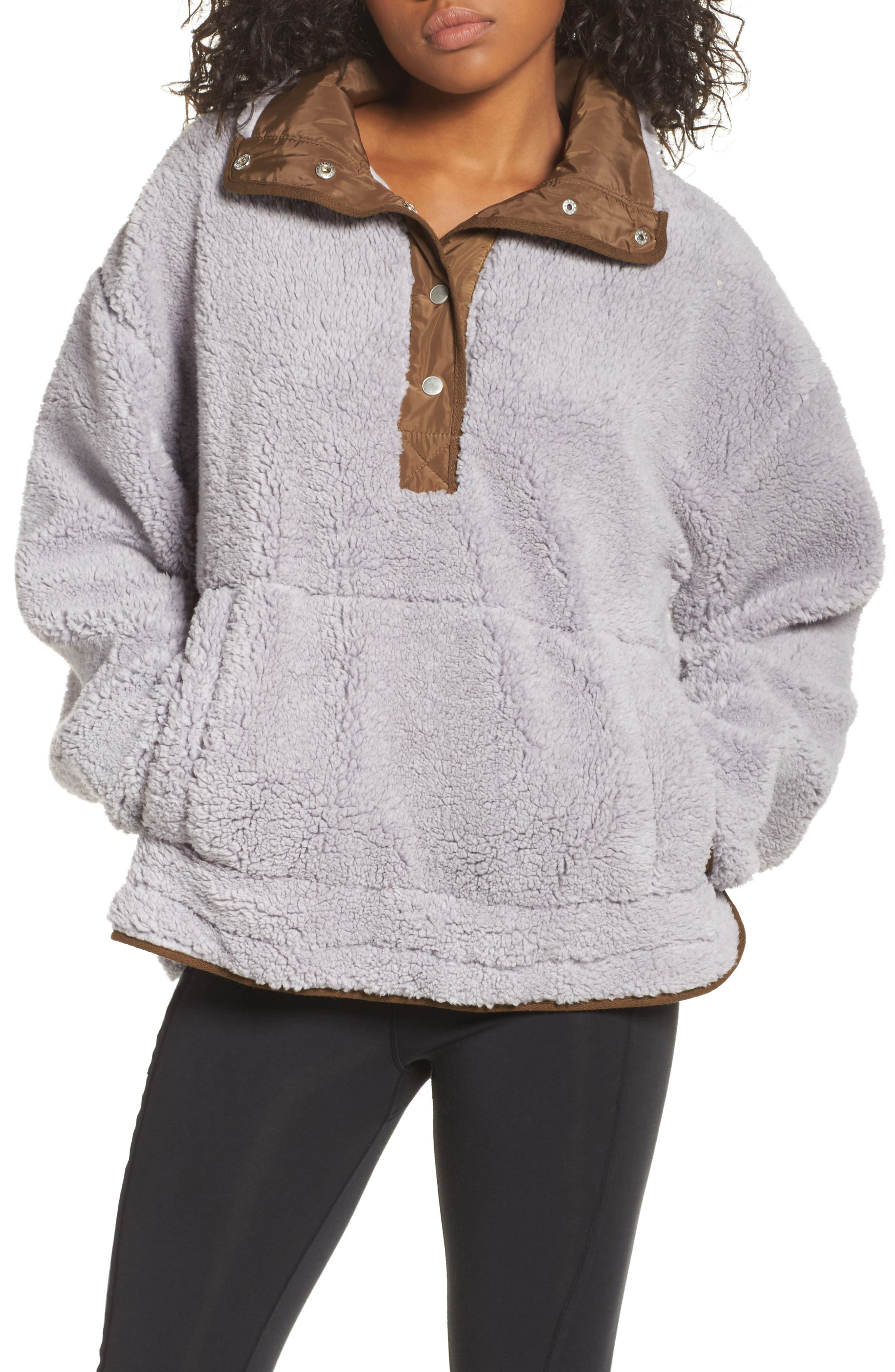 Free People Oh So Cozy Fleece Pullover,                             Main thumbnail 1, color,                             Grey